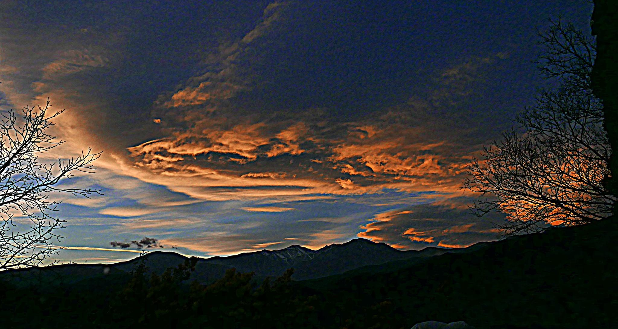 sunset on Canigou  by Mina Elvé
