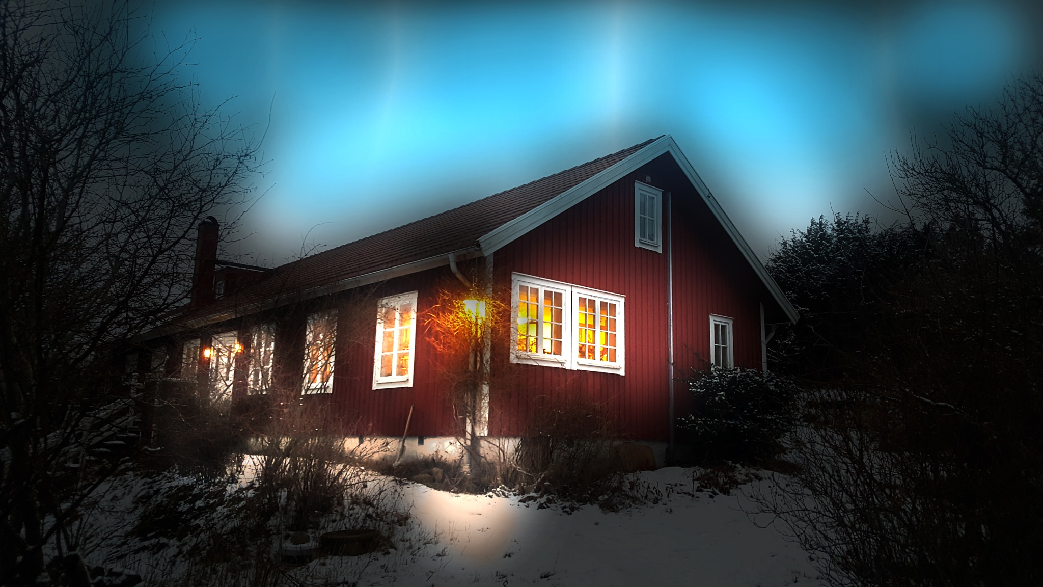 A house in the evening by David Sjöstrand