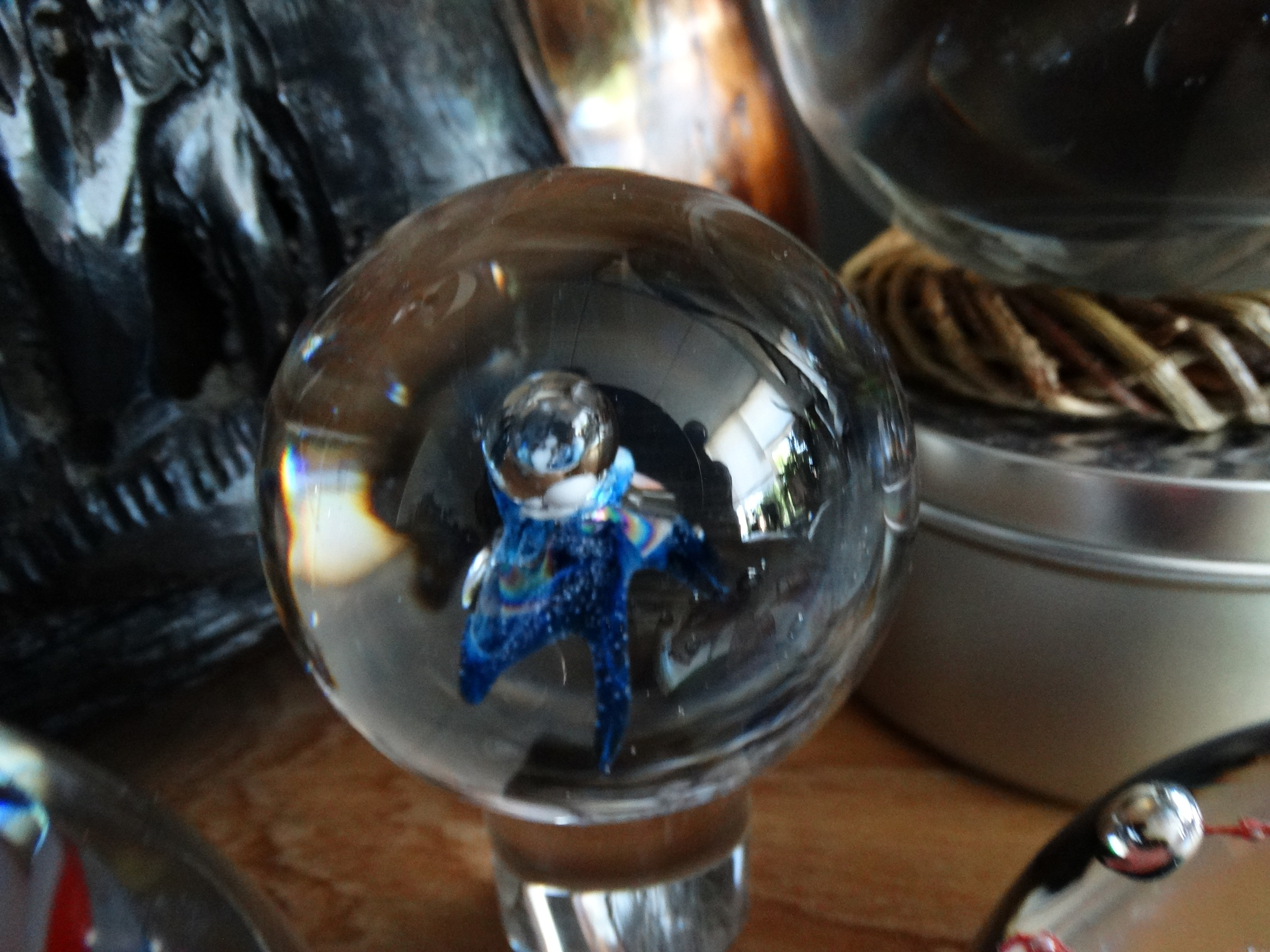 Glass art in Bowl ....... blue flower by Justmetoo