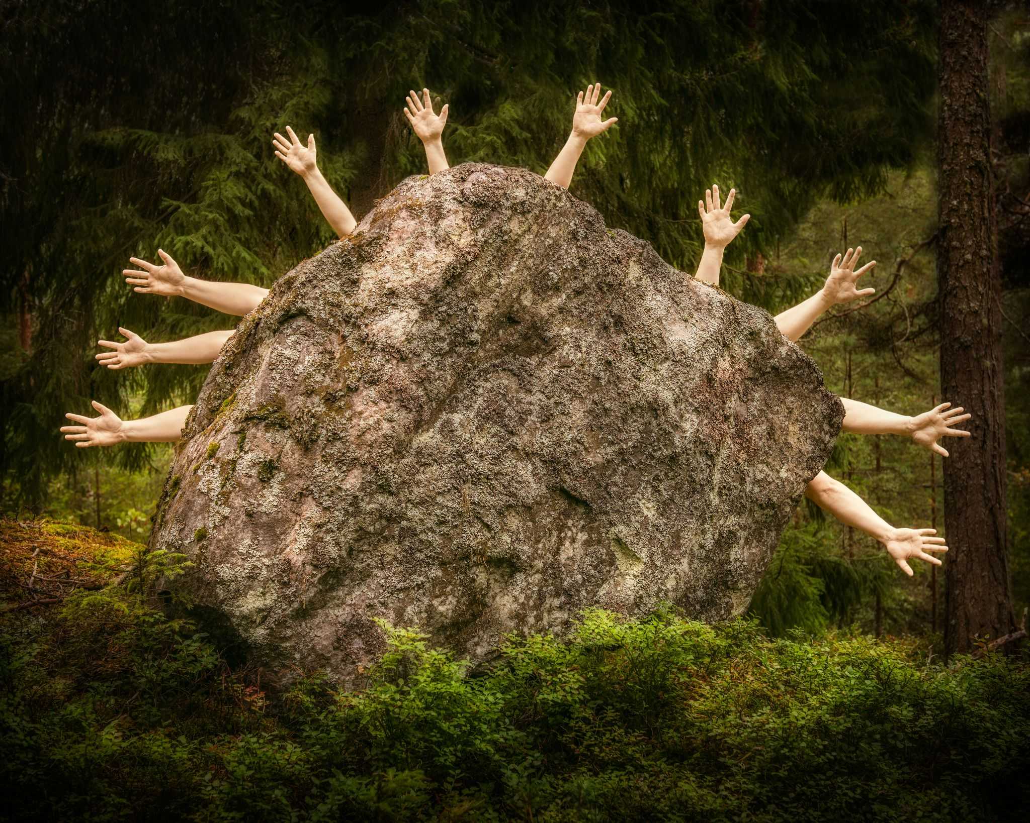 Behind The Stone They All Gathered by Petri Damstén