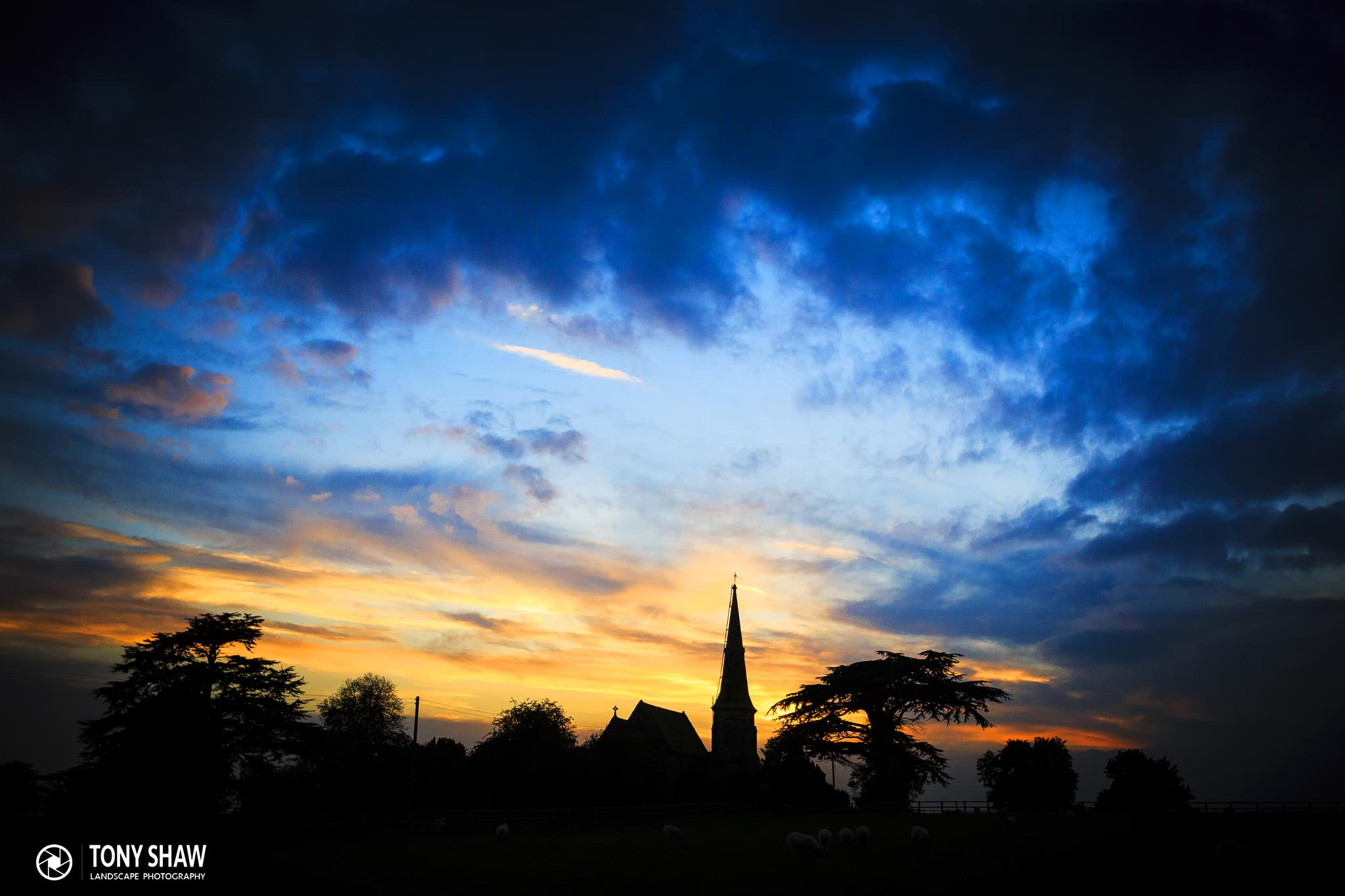 Sunset over Thirkleby Church by Tony Shaw