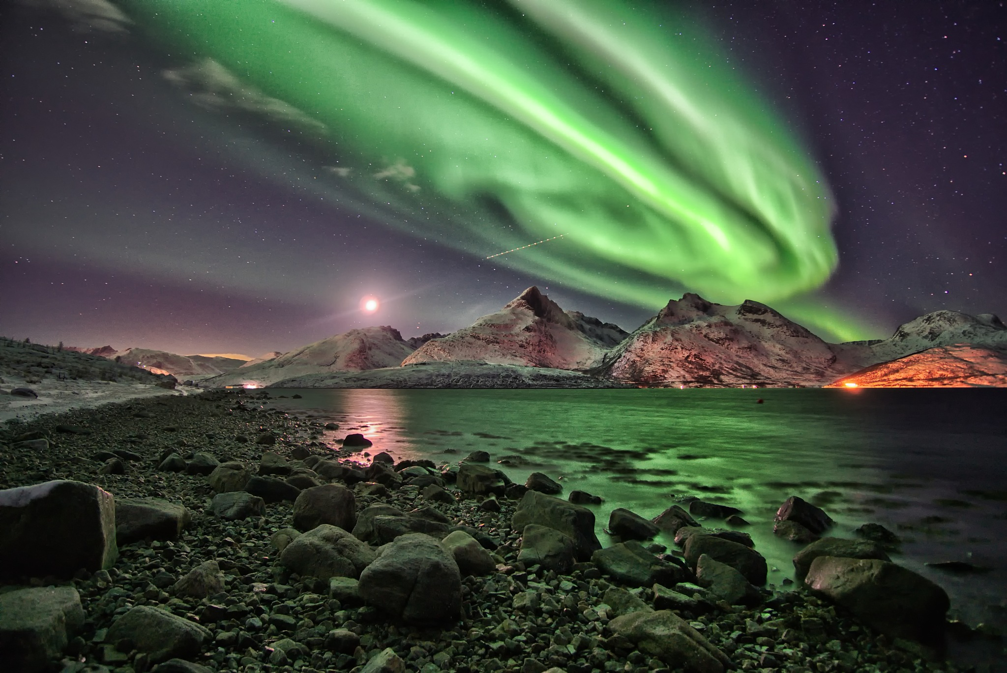 Aurora above beautiful Mountains by Mario Greenway