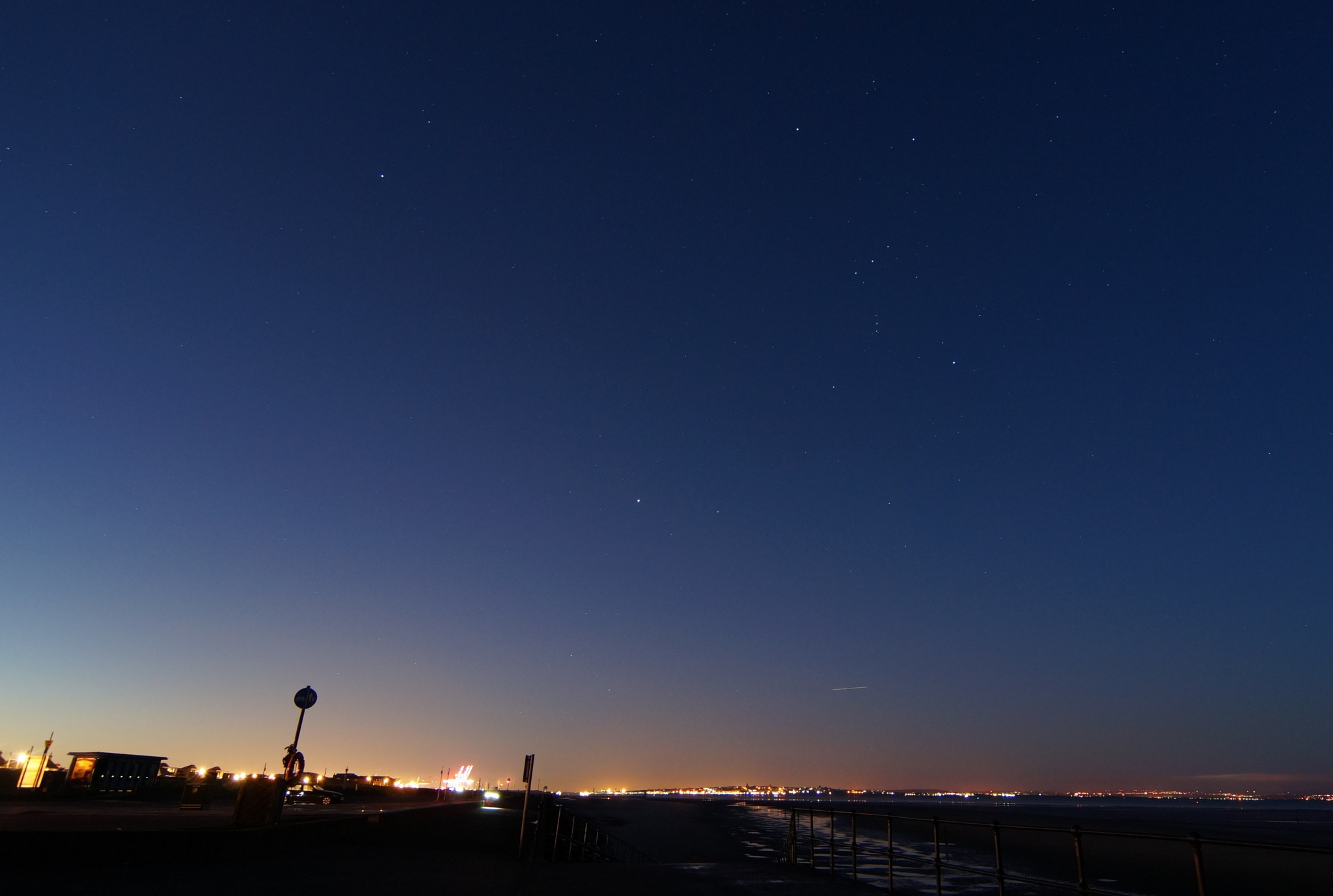 Orion over Crosby beach at daybreak by Steve Smith