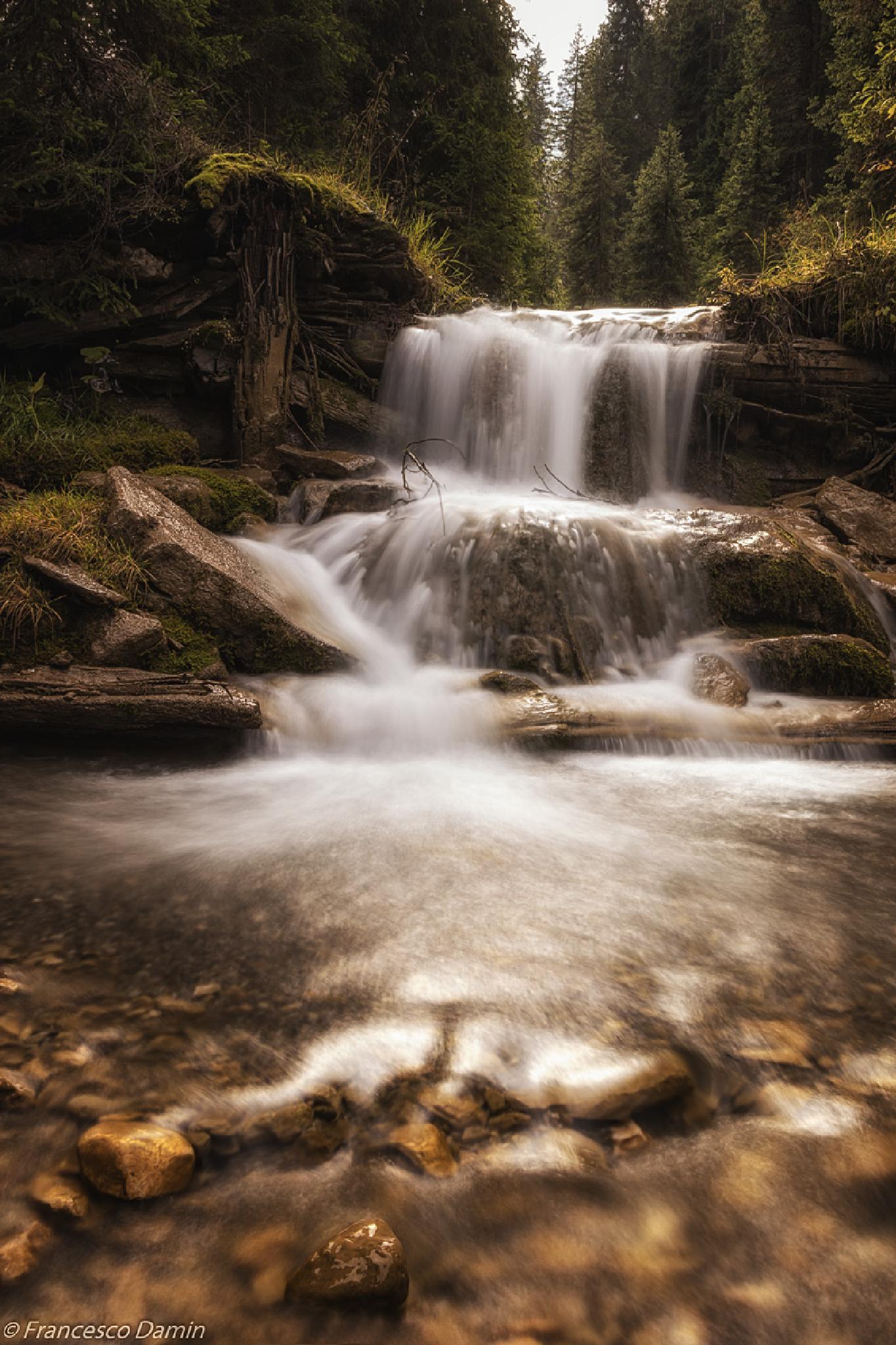 Waterfall in autumn by Francesco Damin