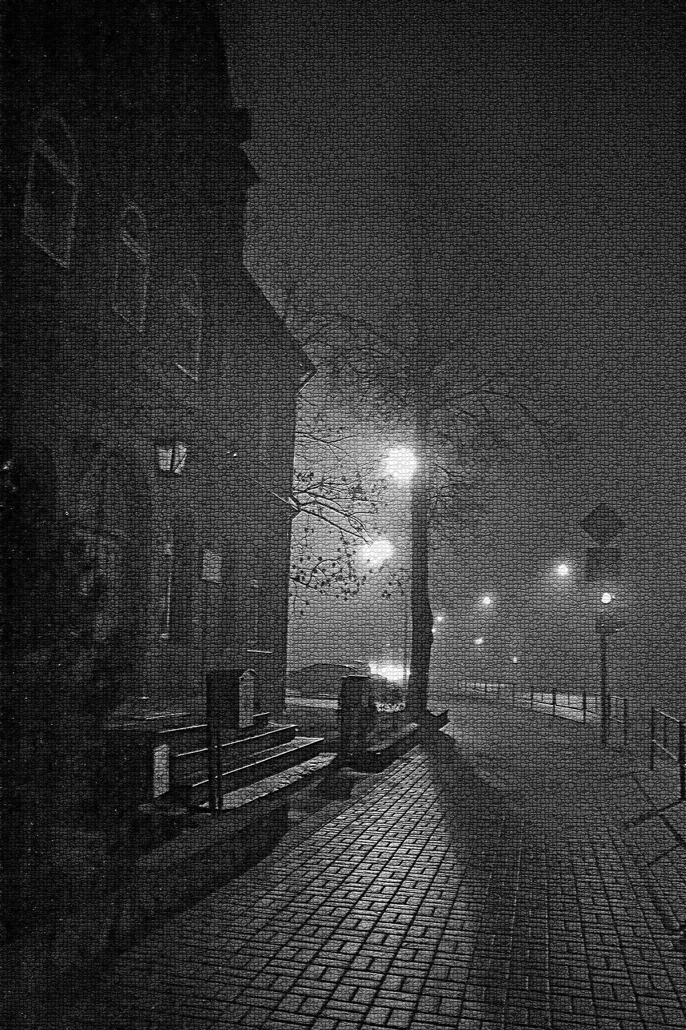 Night street by Zenonas Meškauskas