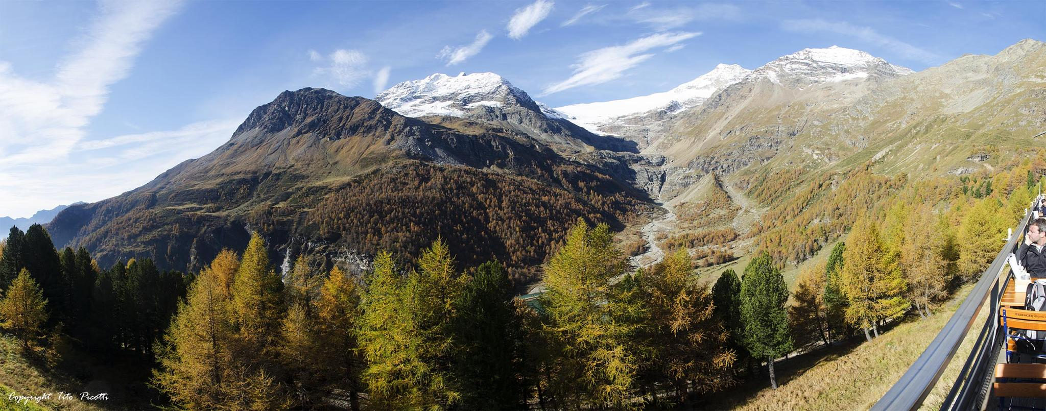 View on the glacier from Bernina's Train by Tito Picotti