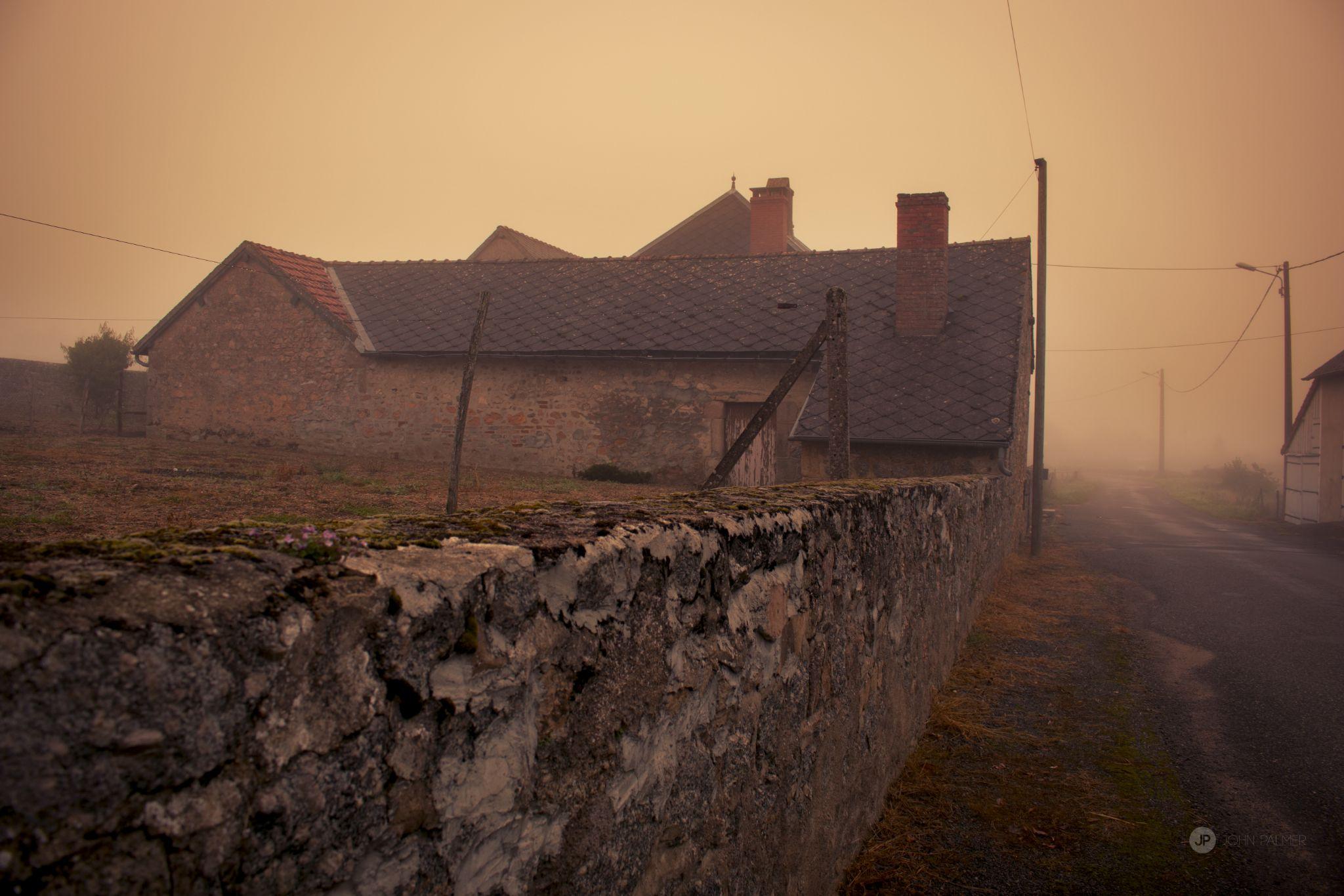 farm in the fog by John Palmer