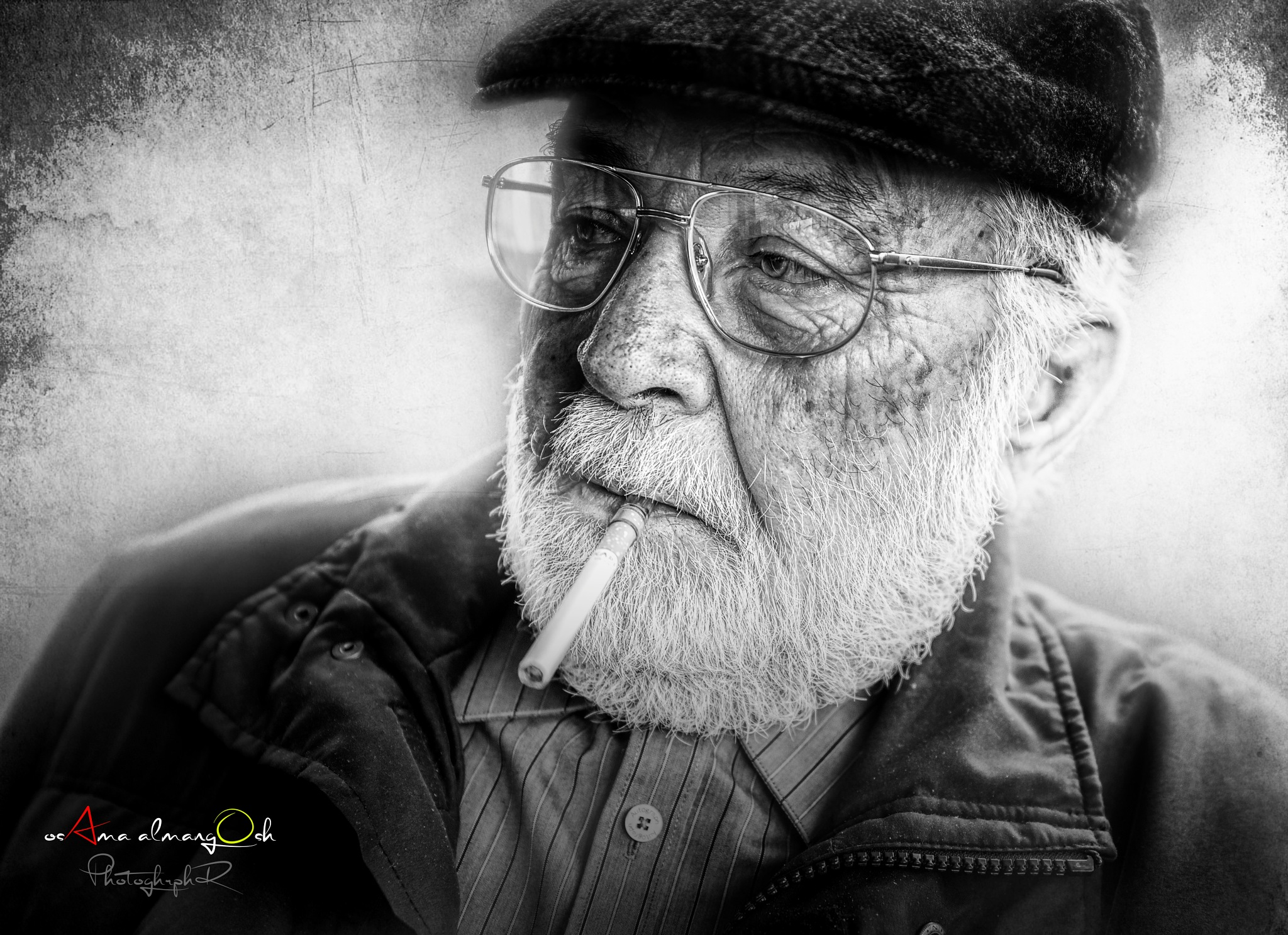 black and white portrait by osama almngush
