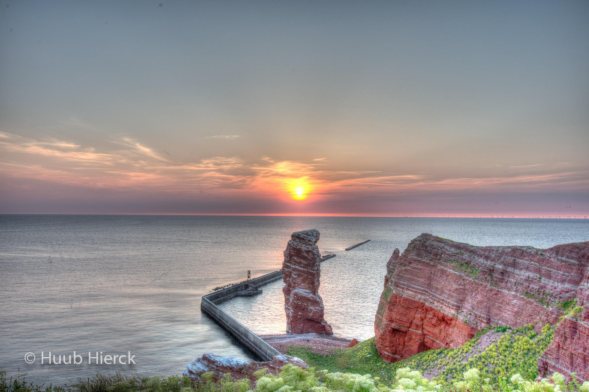 Sunset over  Lange Anne on Helgoland by Angus