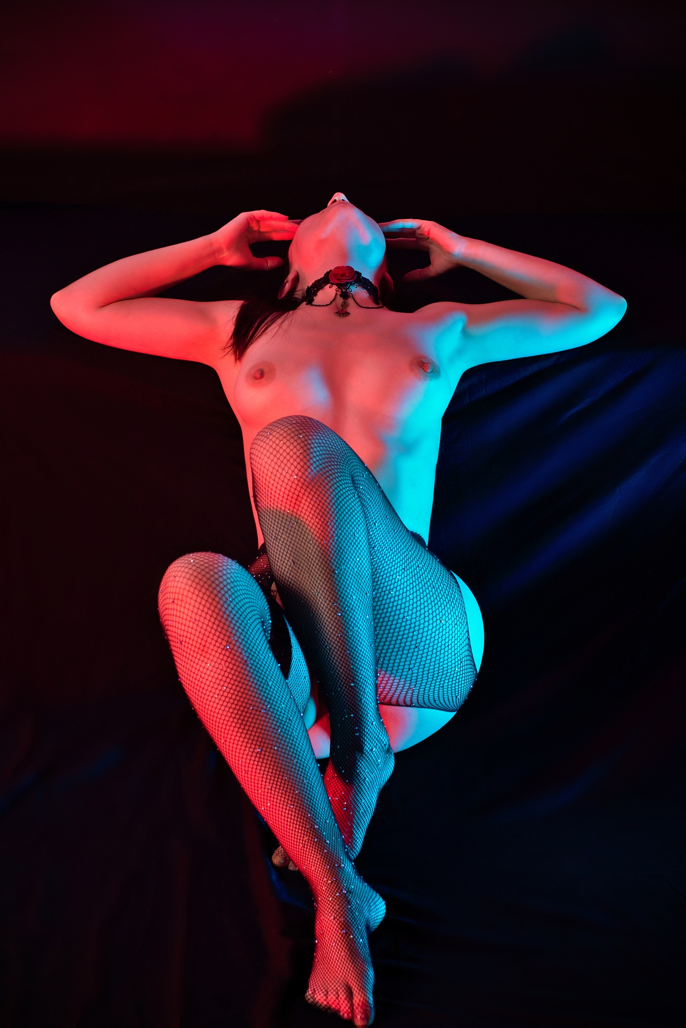 Photo in Nude #girl #body #posing #dark #nudeart #net #lace #curves #blue&red
