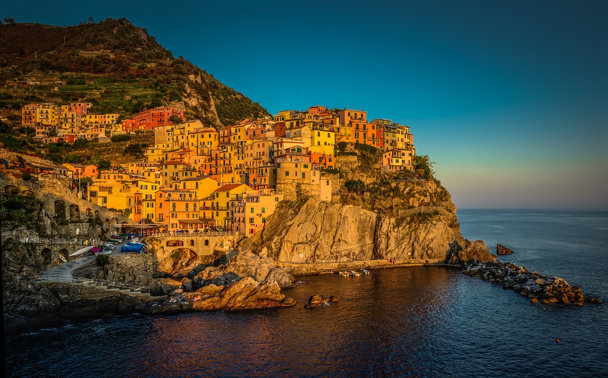 Sunset over Manarola, Cinque Terre, Italy by nickbrisbane