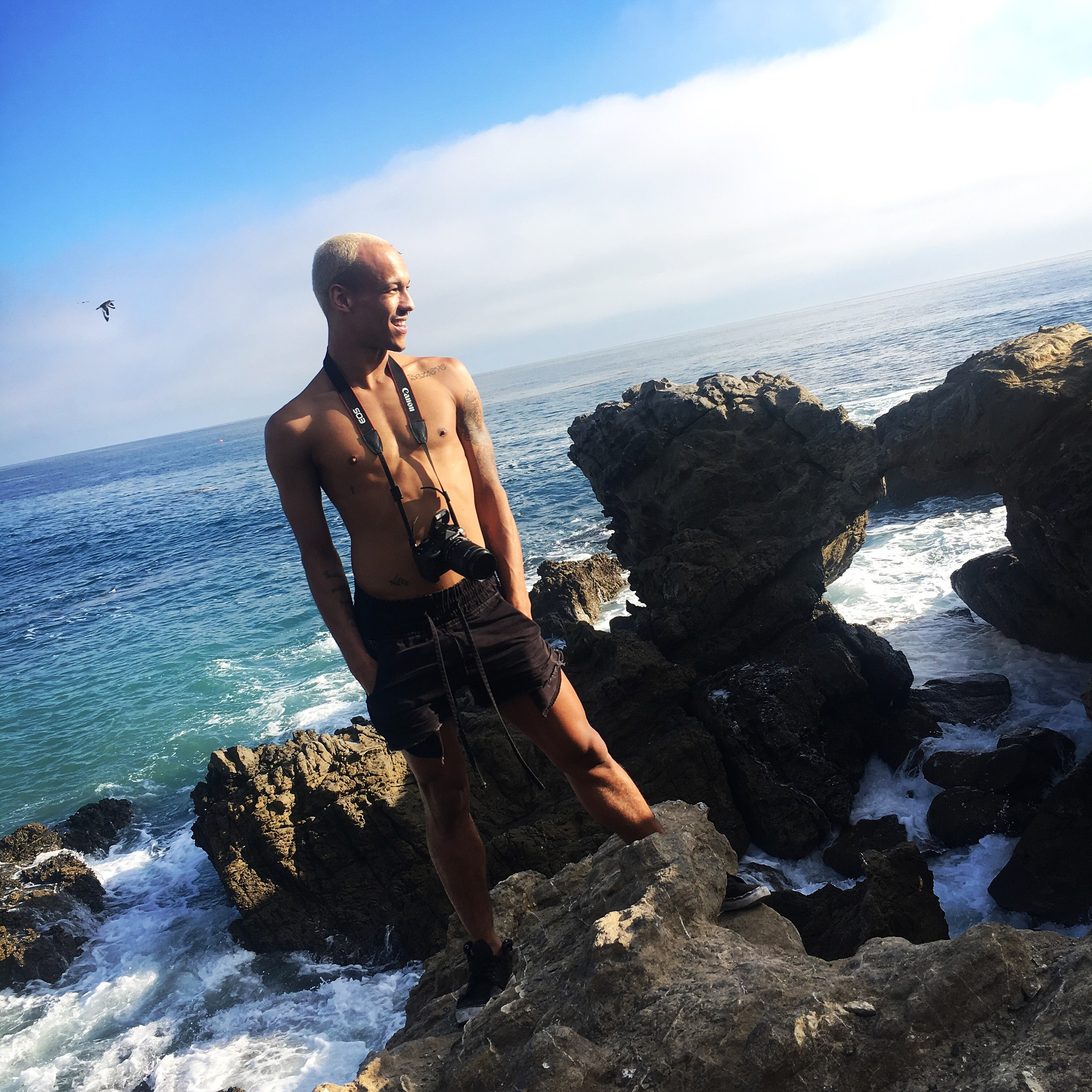 Malibu beach self portrait. by Dre Young