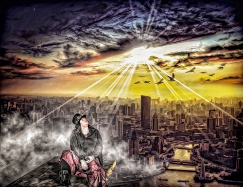 Miriam over city  by Eddie Starck