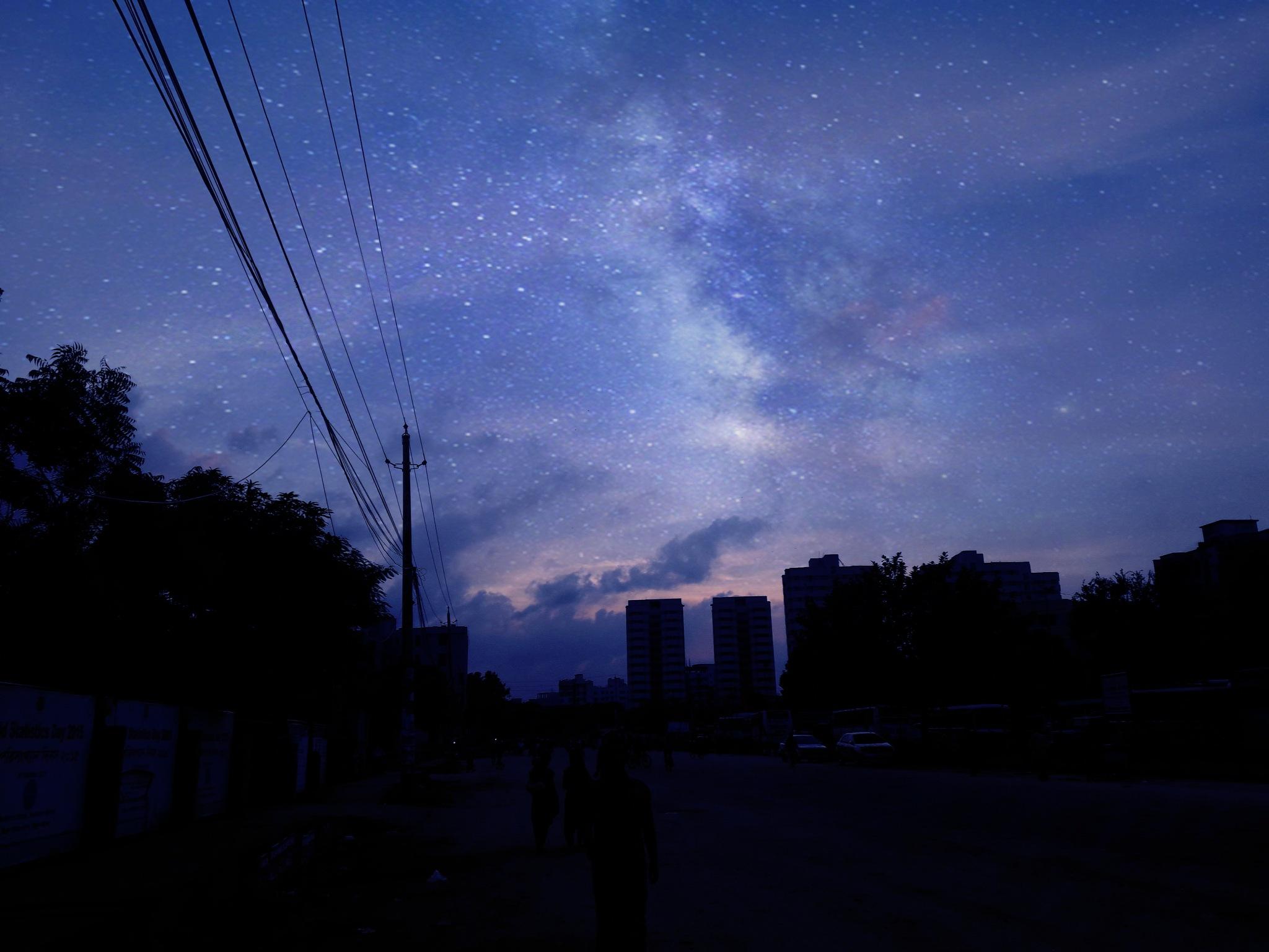 Milkway in city night by Md. Ashraful Islam