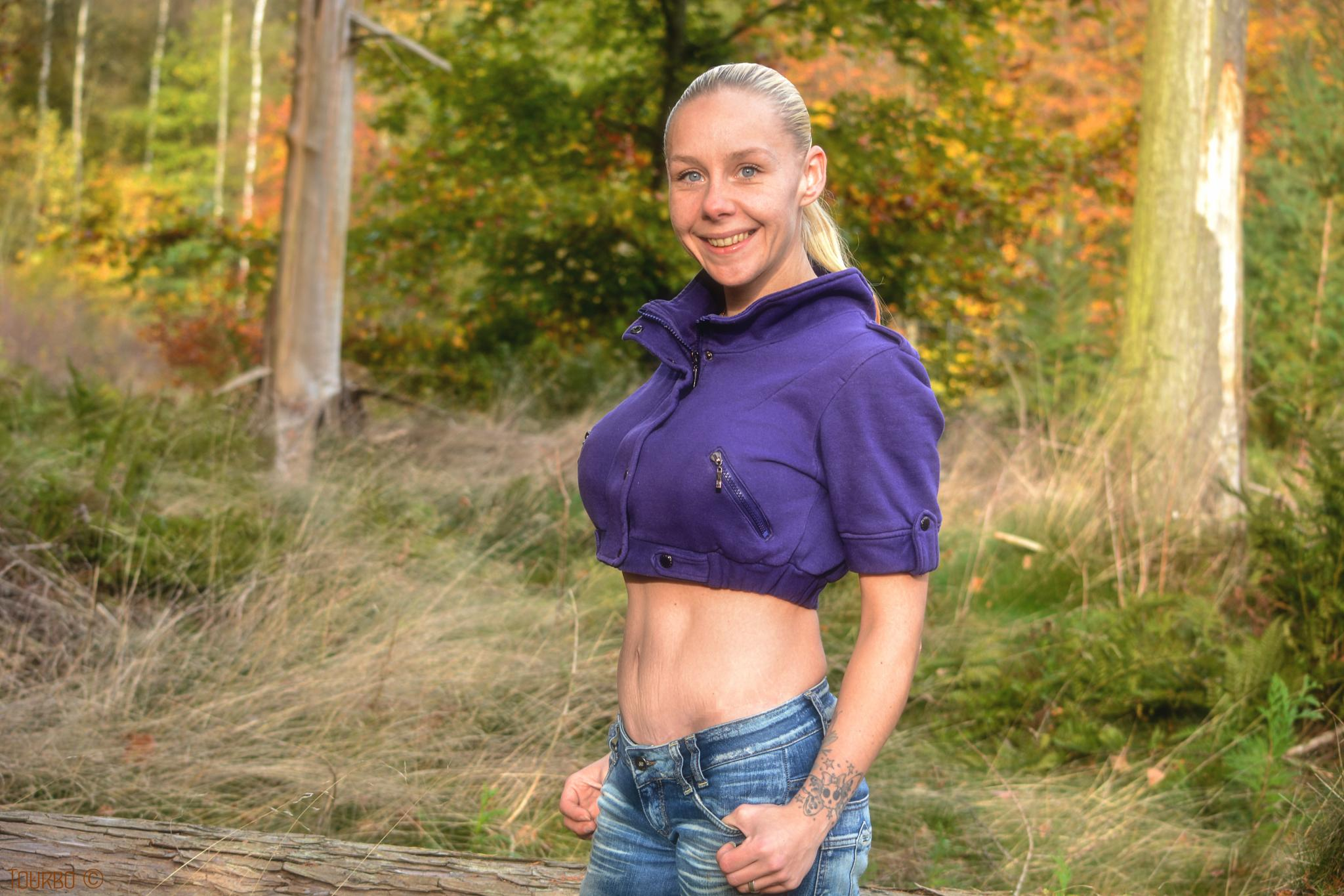 Photo in Random #tourbo #woman #forest #tree #trees #fall #autumn #grass #denmark #copenhagen #color #colors #jeans #stomach #mother #mom #tattoo