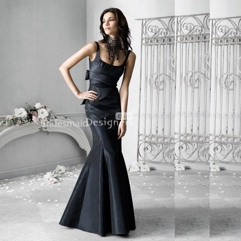 Navy Taffeta Full Length Bridesmaid Gown with Scoop Neck Trumpet and Empire Waist by Saby William