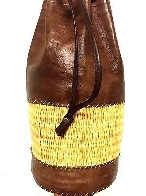 Handmade Leather & Straw Cylinder Backpack Rugged Rustic Travel handbag Rucksack by Moroccan Furniture Bazaar