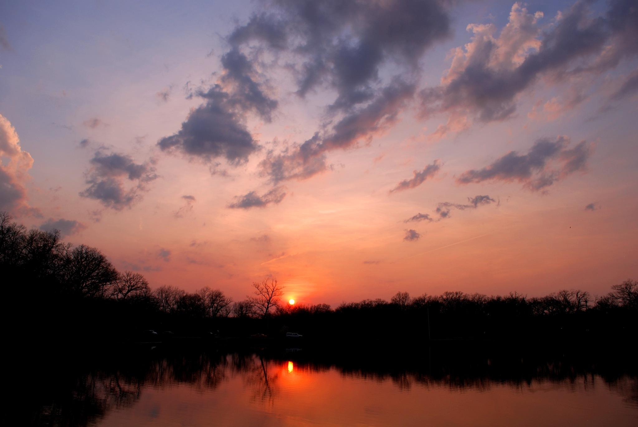 Sunset over the lake by mattharang