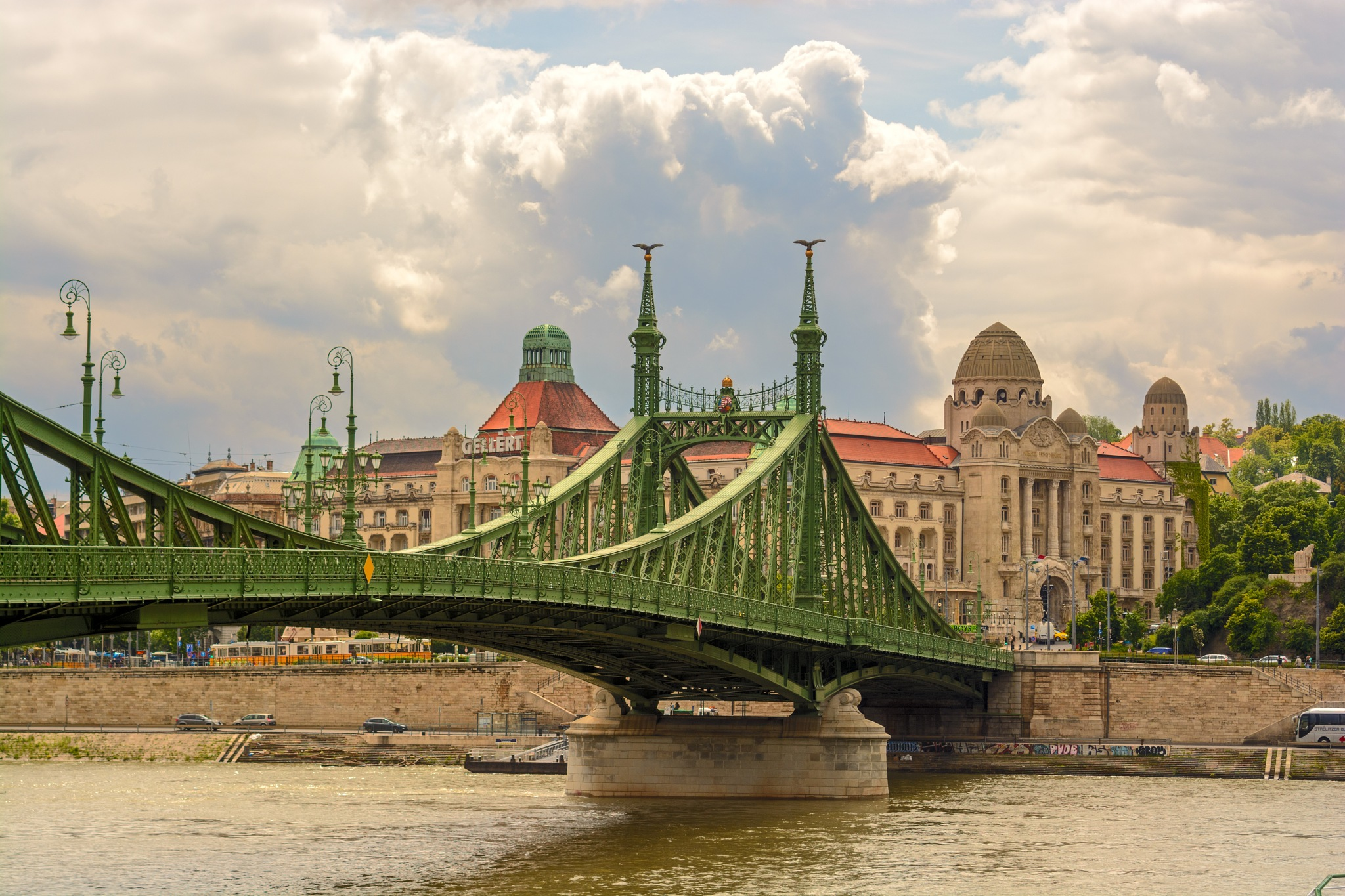 Summer view of Liberty bridge and Gellert bath building by Yury Kirillov