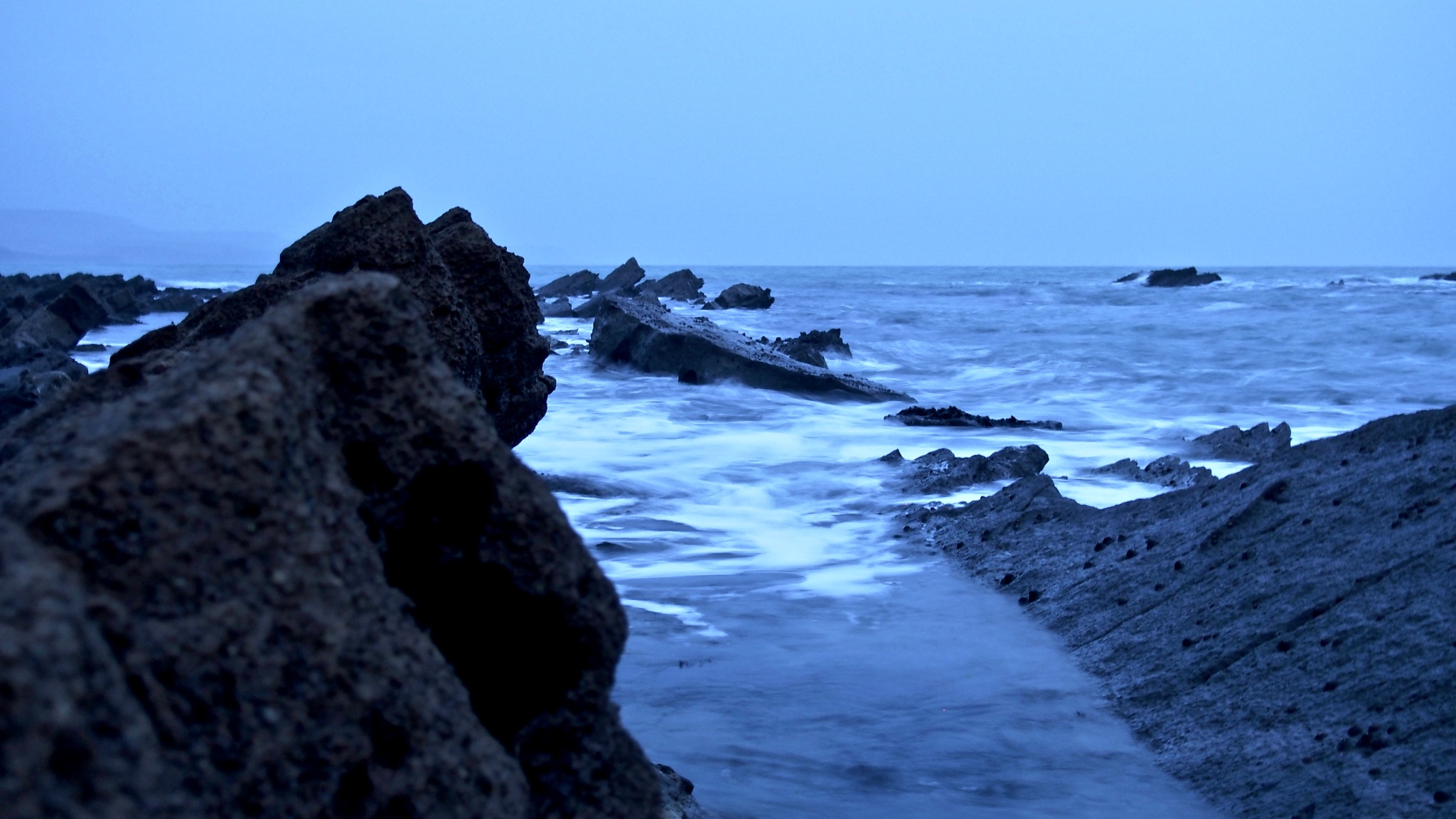 Photo in Landscape #waves #long exposure #winter #evening #sea #seascape #water #beach #rocks #craggy #white water