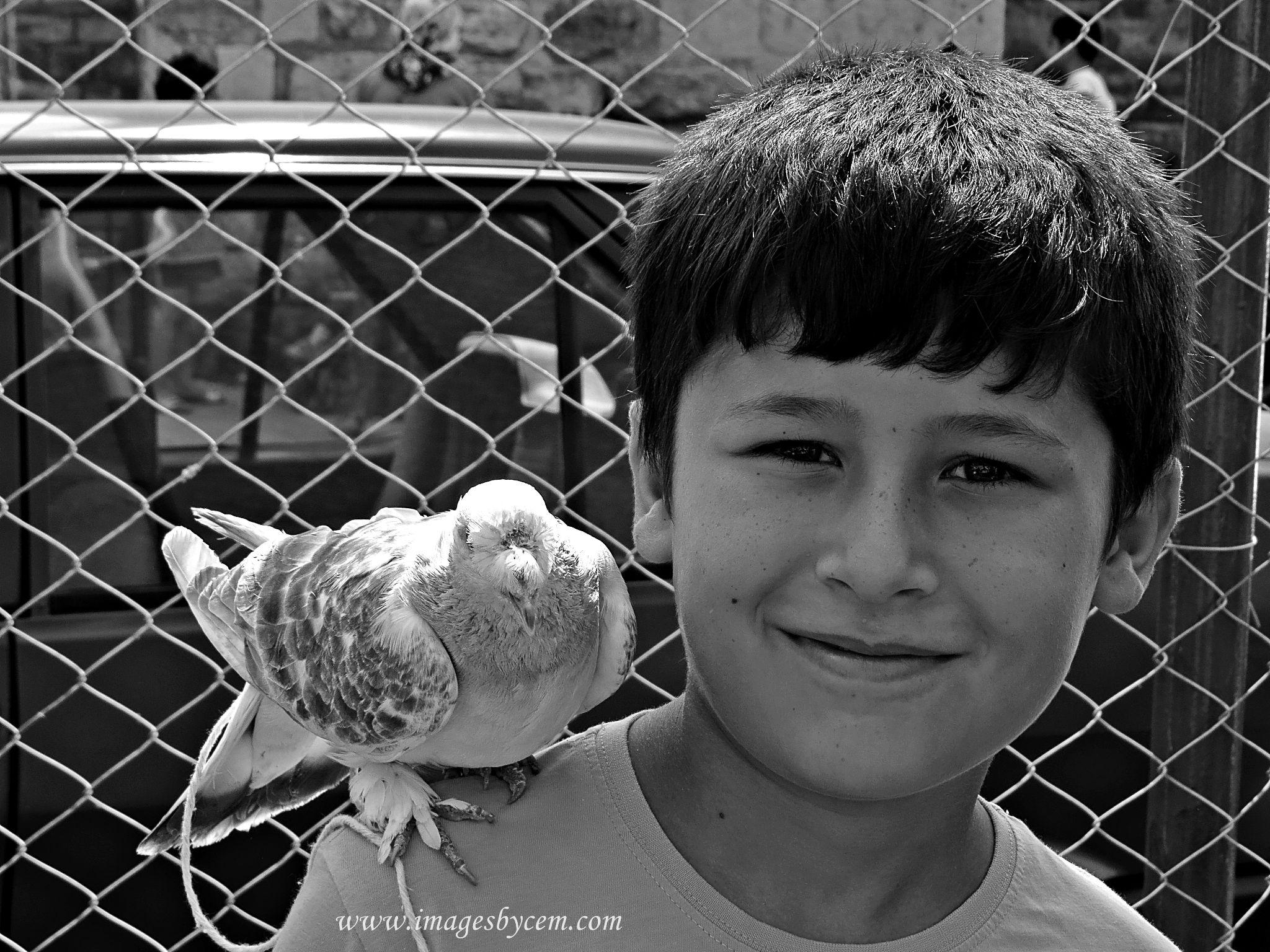 Piegon with child at Balat Streets by Cem Berkay YAKAL
