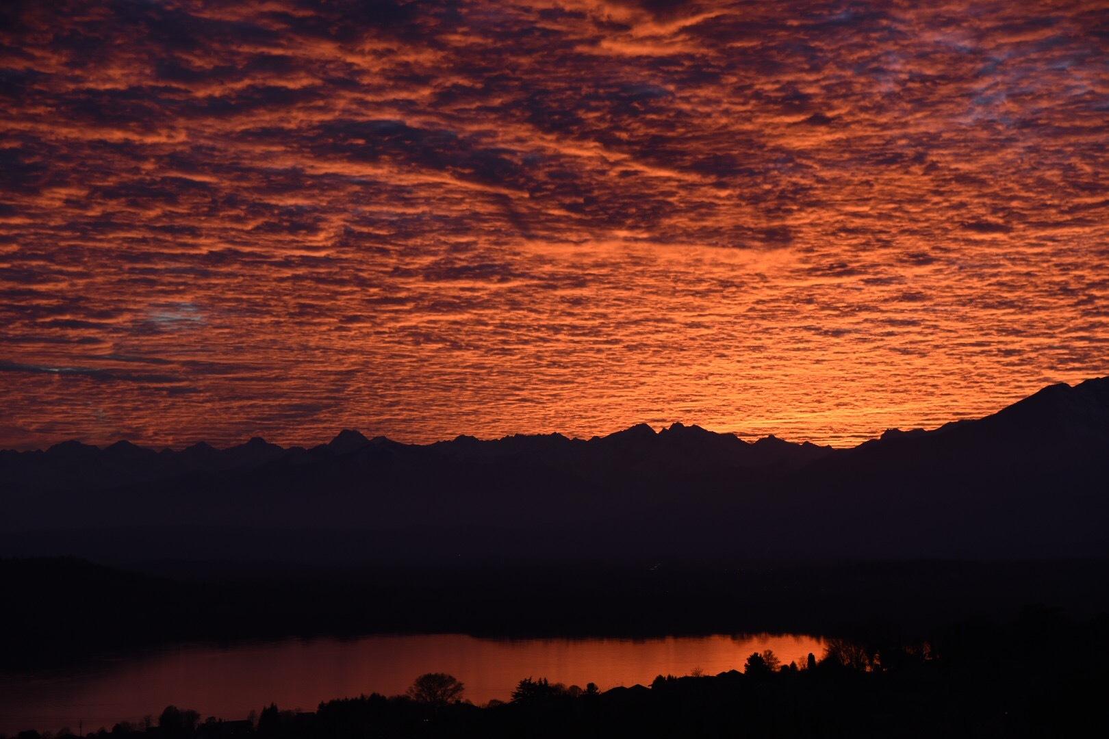 Sunset to Viverone Lake Piemonte Italy  by Filippo Fessia