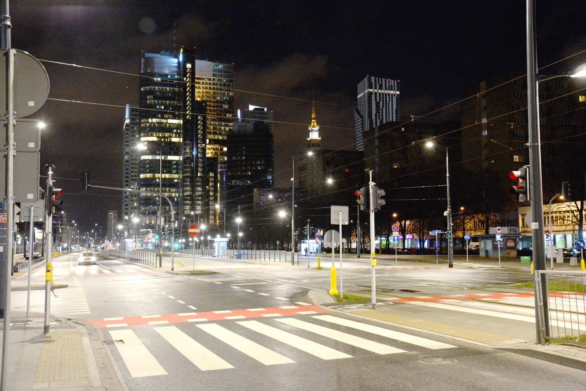 Warsaw city center by night by Bartek Stachyra