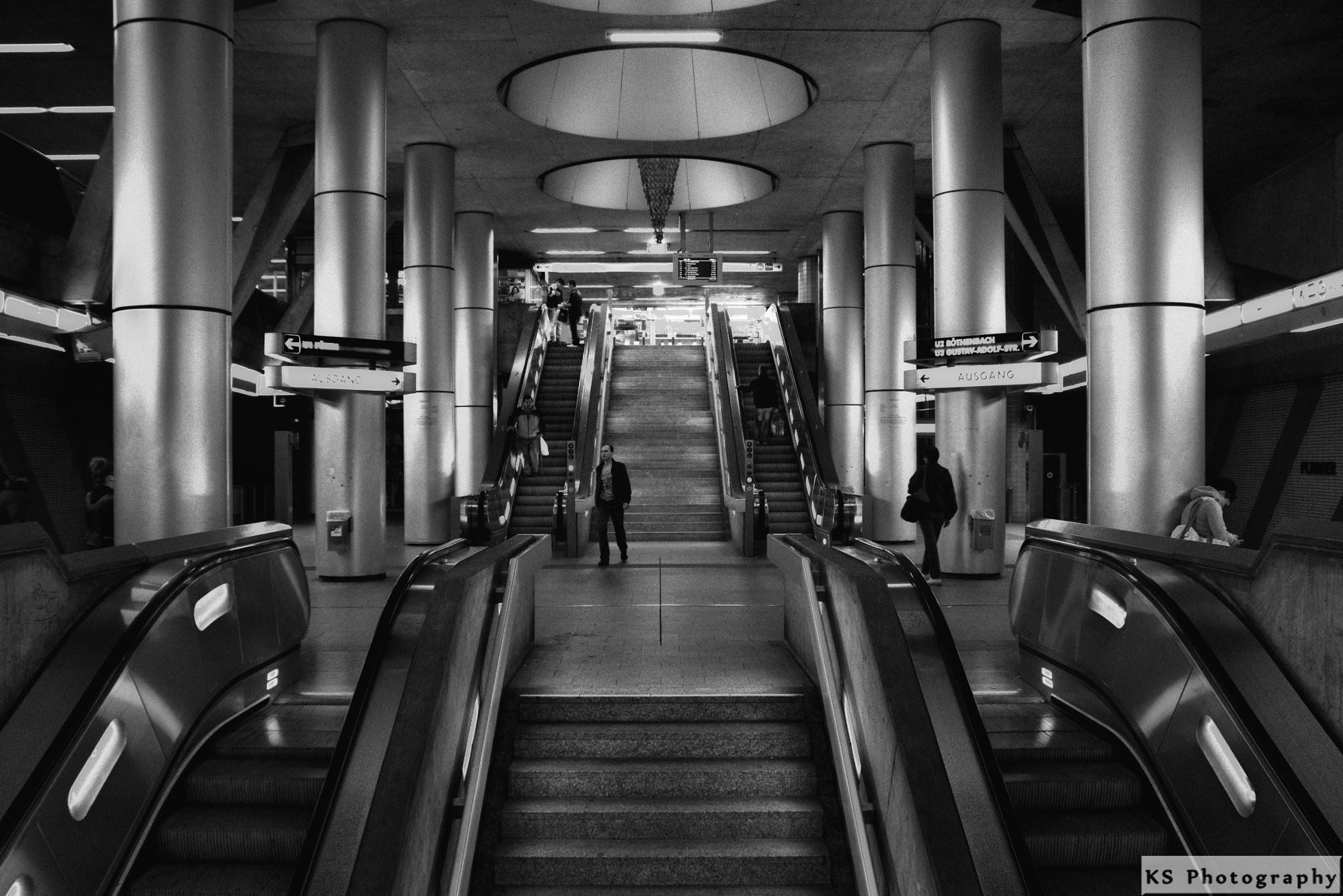 Metro Station in Nueremberg BW by Klaus Schenker
