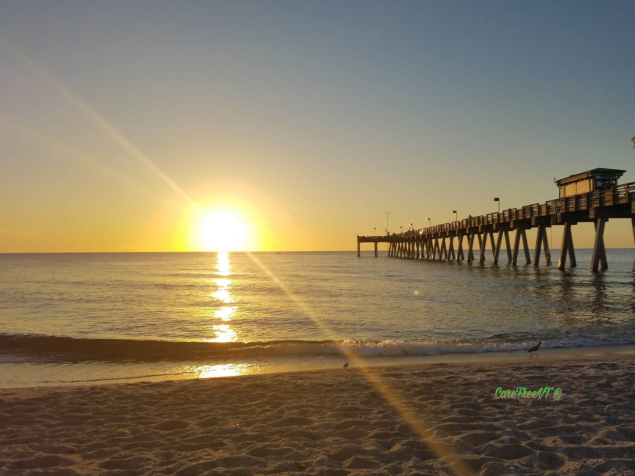 sunset near Sharky's by the Pier, Venice, FL  by CareFreeVT