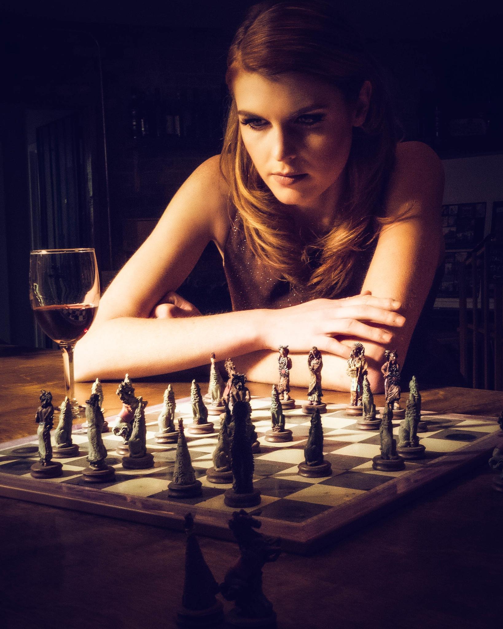 Rachel Playing Chess by Jonathan Frings