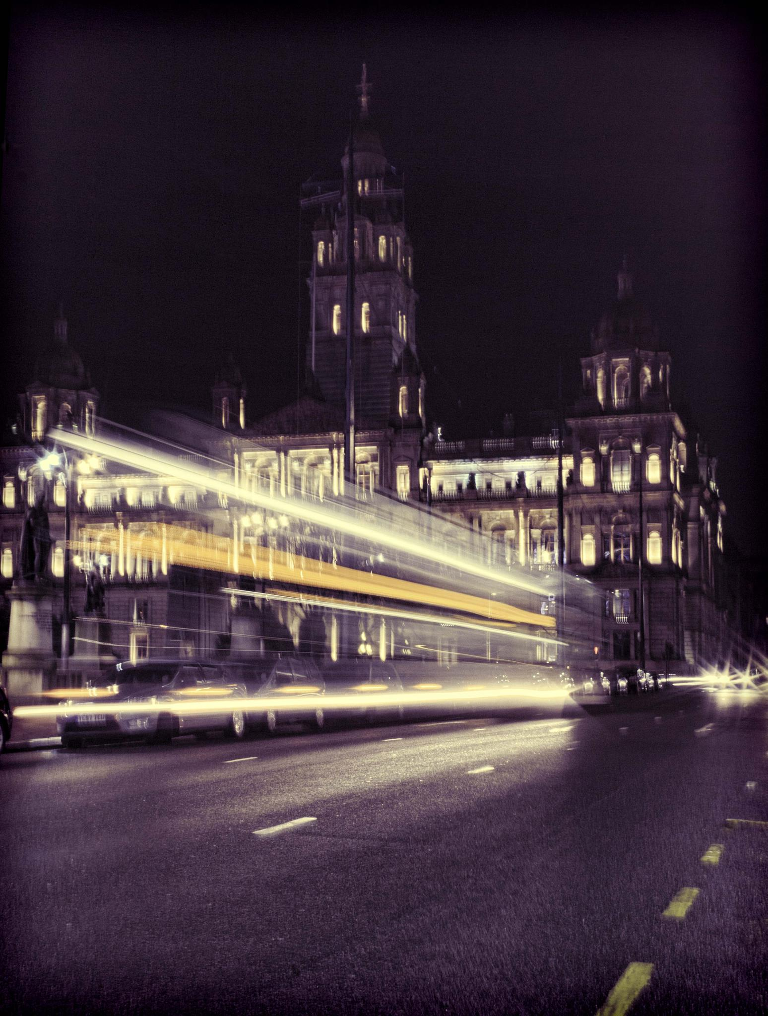 Glasgow George Square at Night by claireloftus
