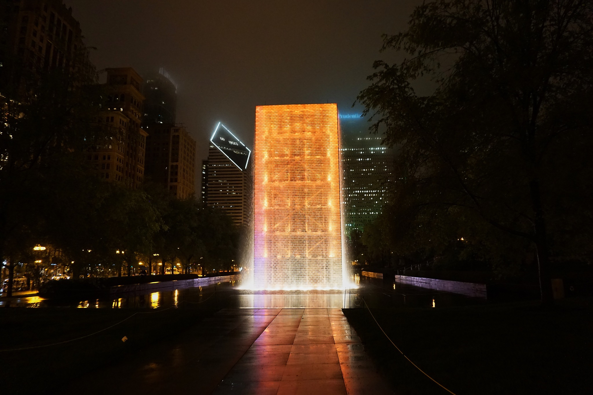 Chicago's Crown Fountain in the Night Mist by BobBenenson