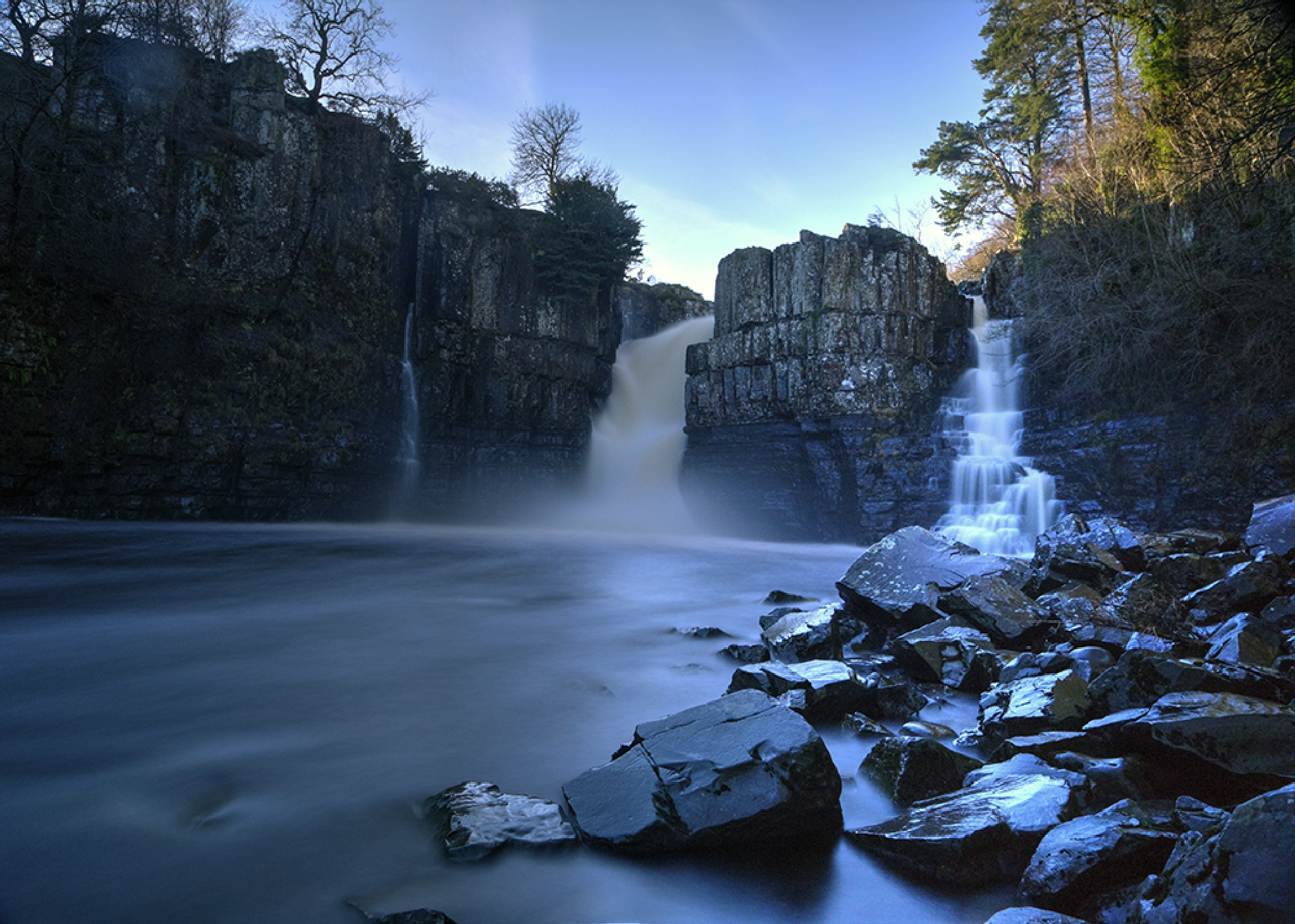 Photo in Landscape #high force #waterfall #teesdale #county durham #england #long exposure #rock #river