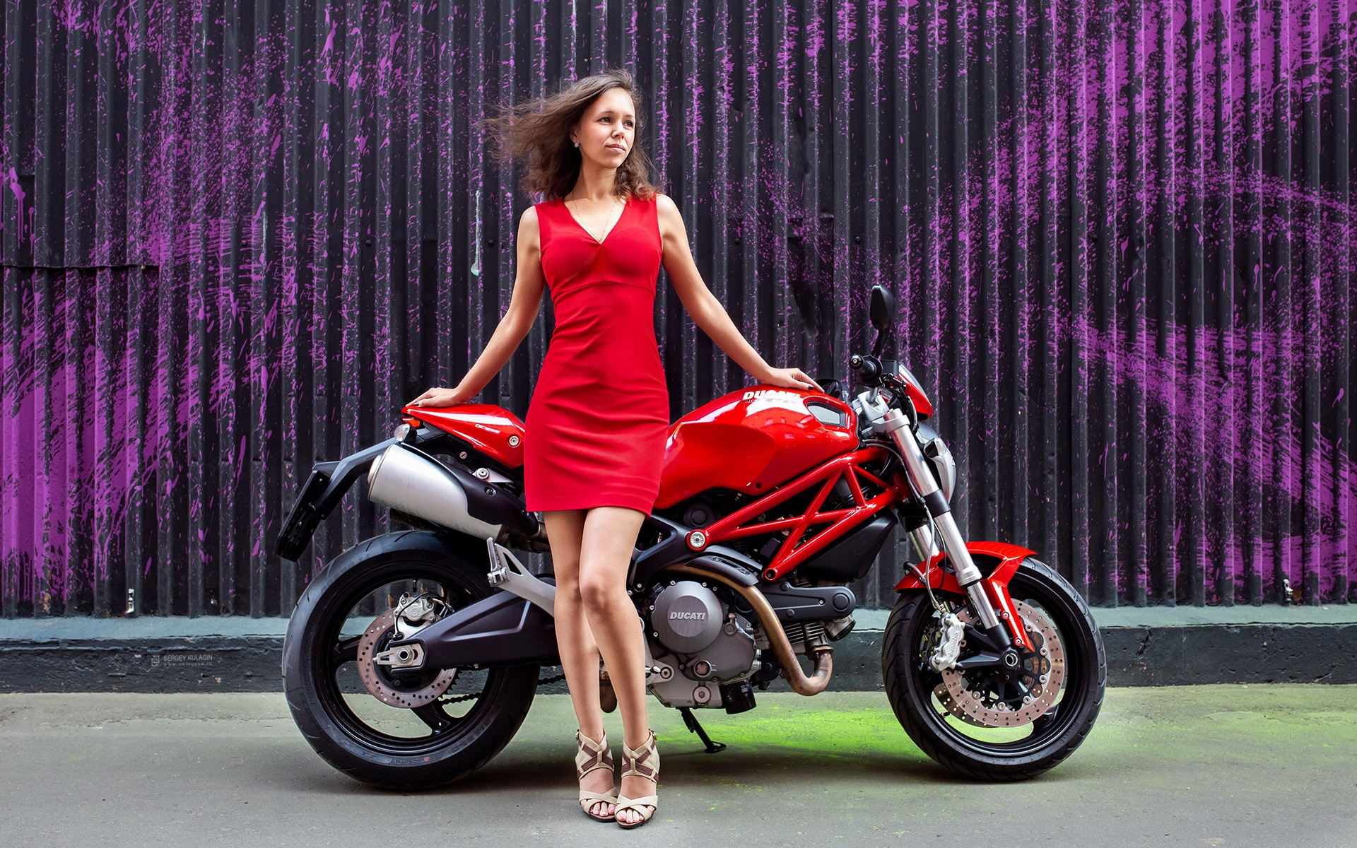 Moto and girl in red by Sergey Kulagin