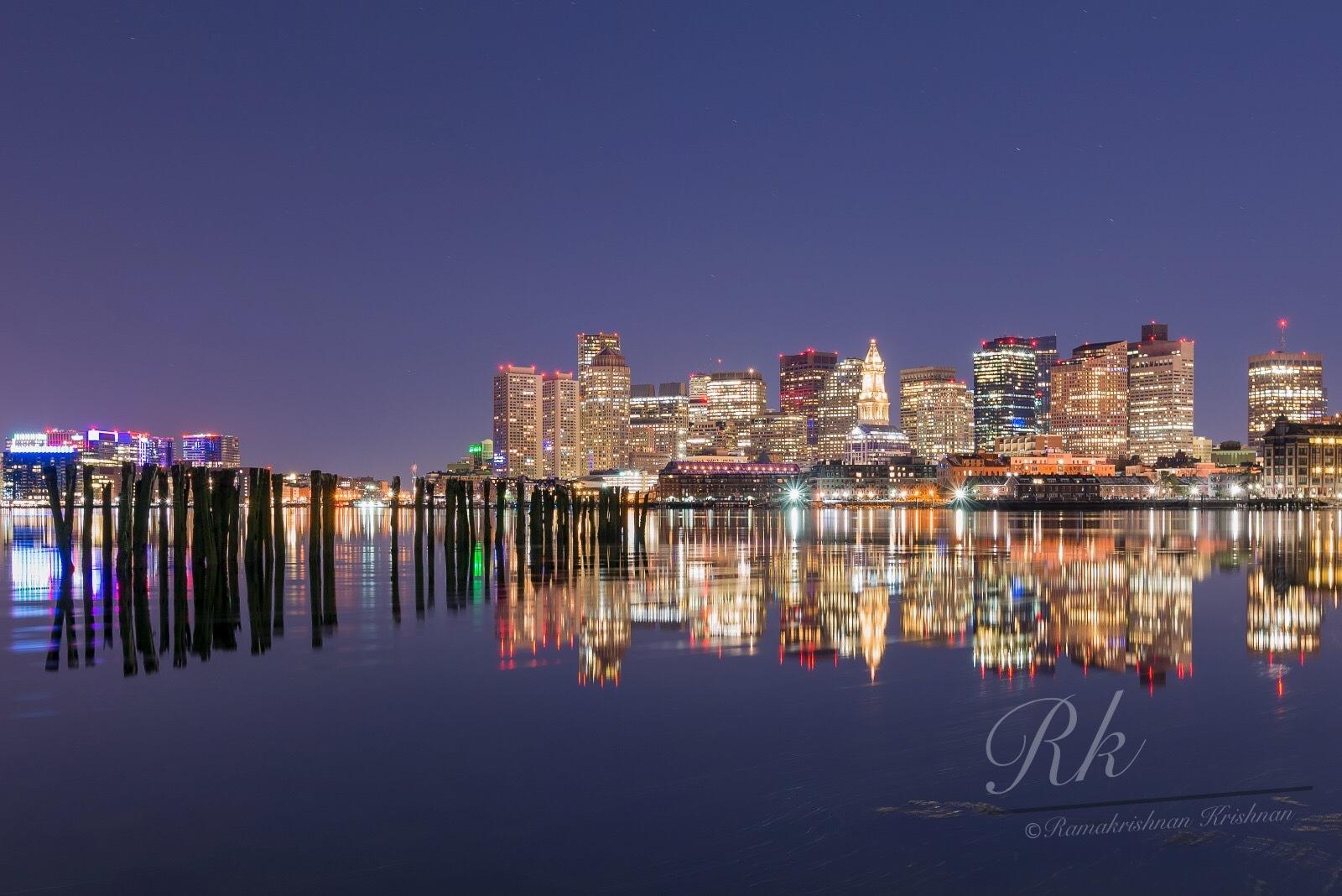 Boston Skyline by Free Love Hippie