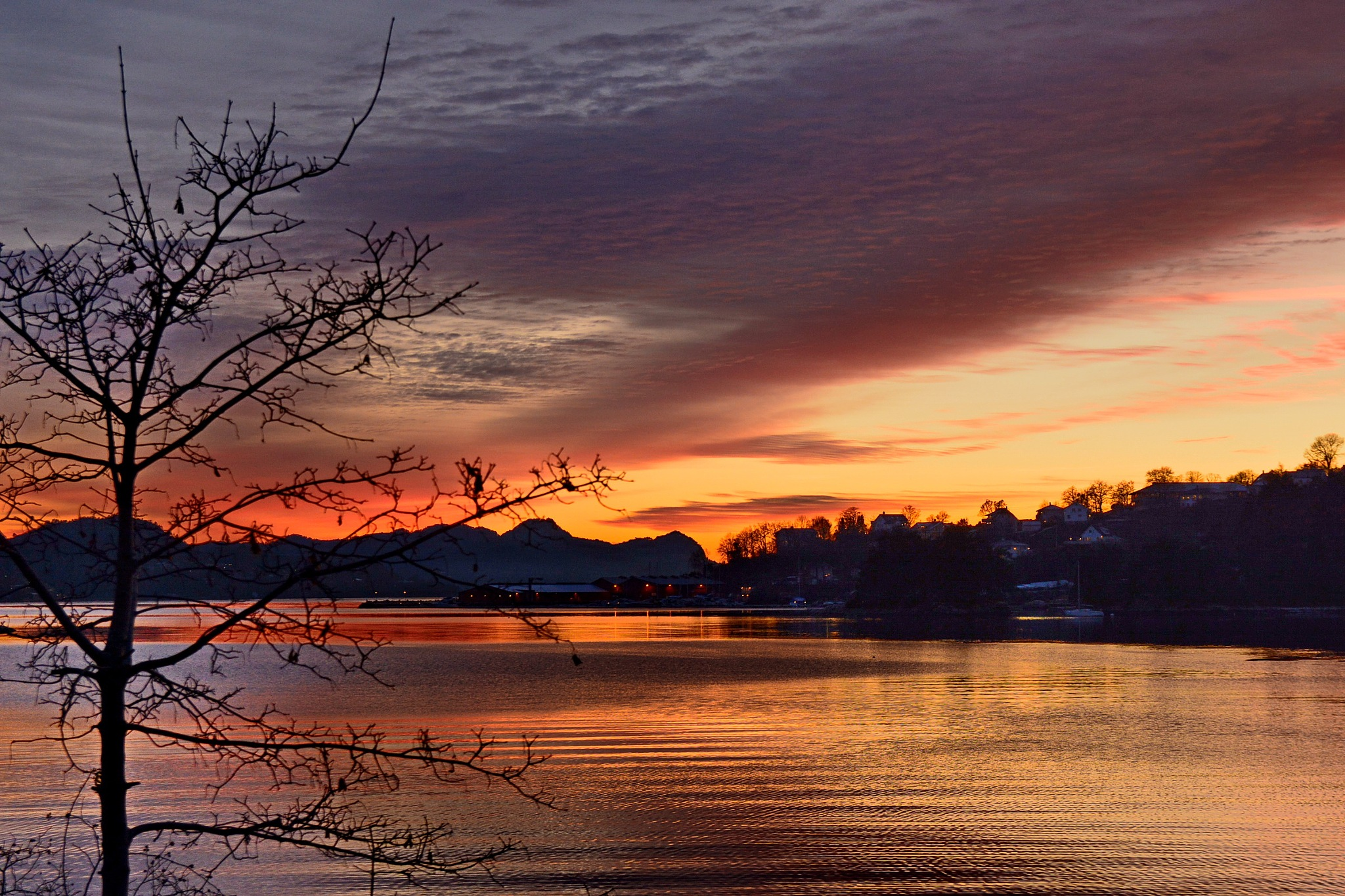 Sunset by the fjord. by Per Molvik