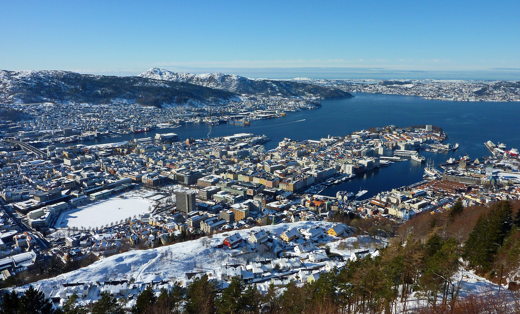View of Bergen down town. North Sea in the background. by Per Molvik