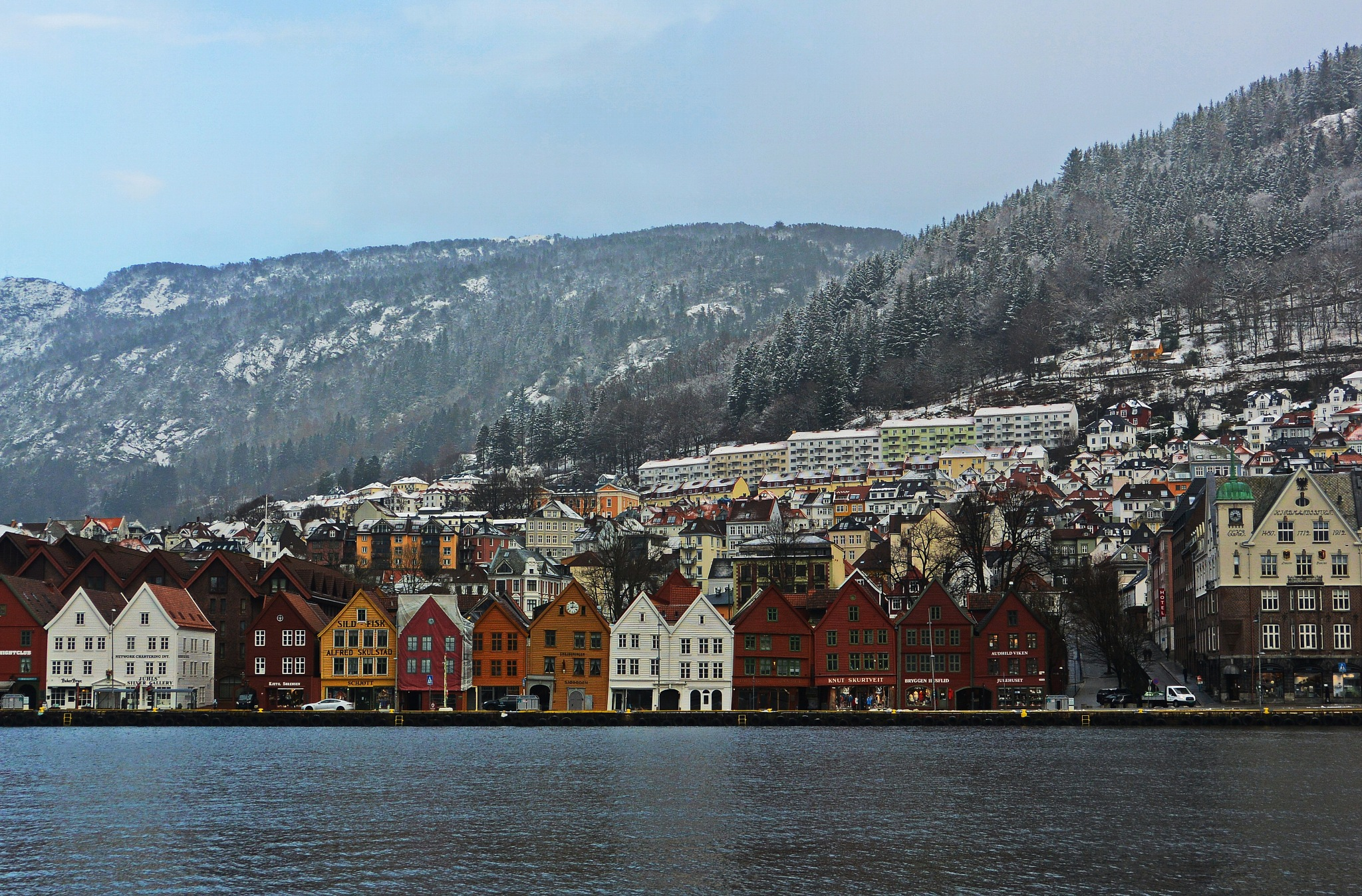 The seaside Bergen with buildings from the Hanseatic period.  by Per Molvik