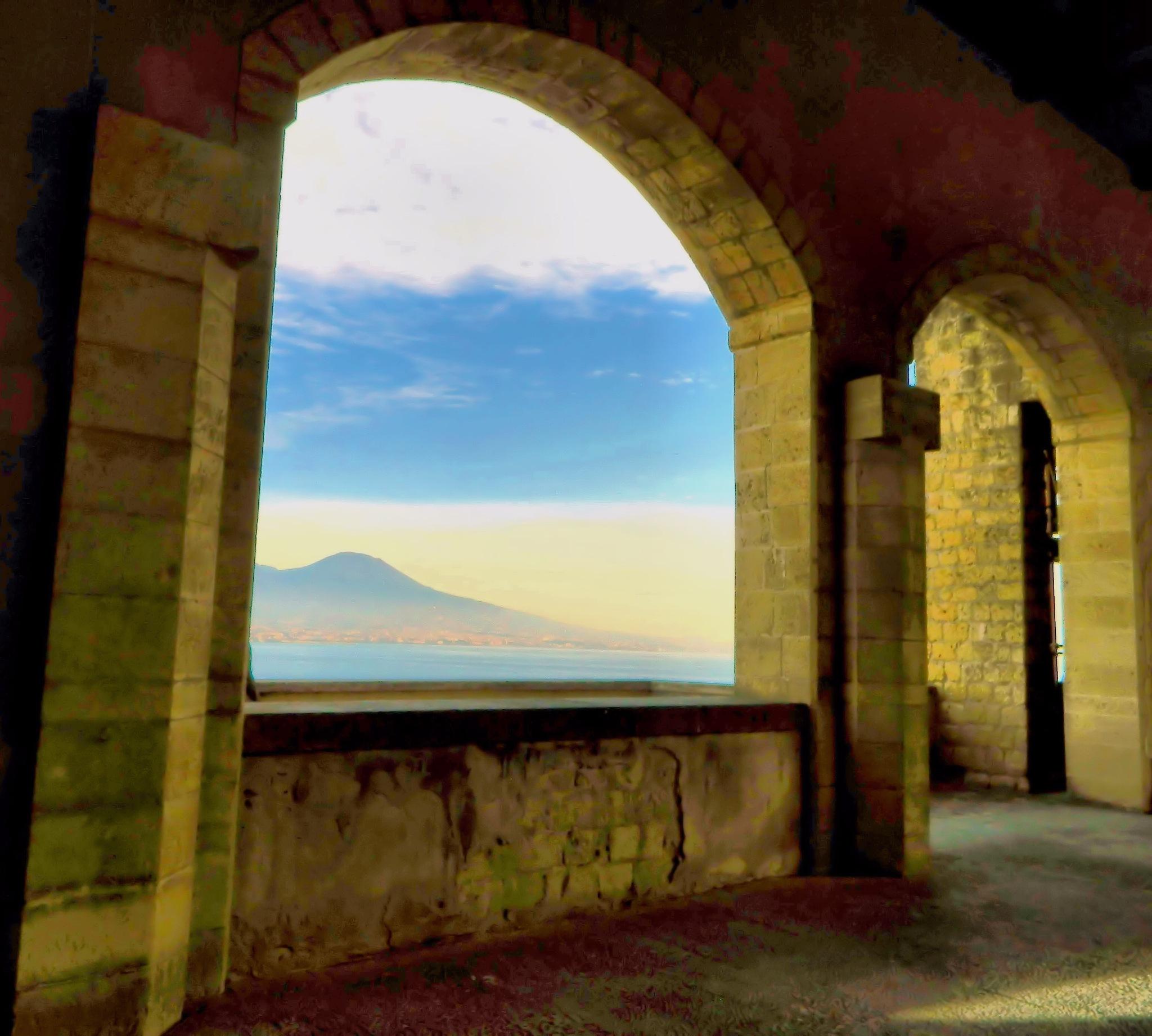 Naples - Castel dell'Ovo - Vesuvio or Vesuvius  by Arnaldo De Lisio
