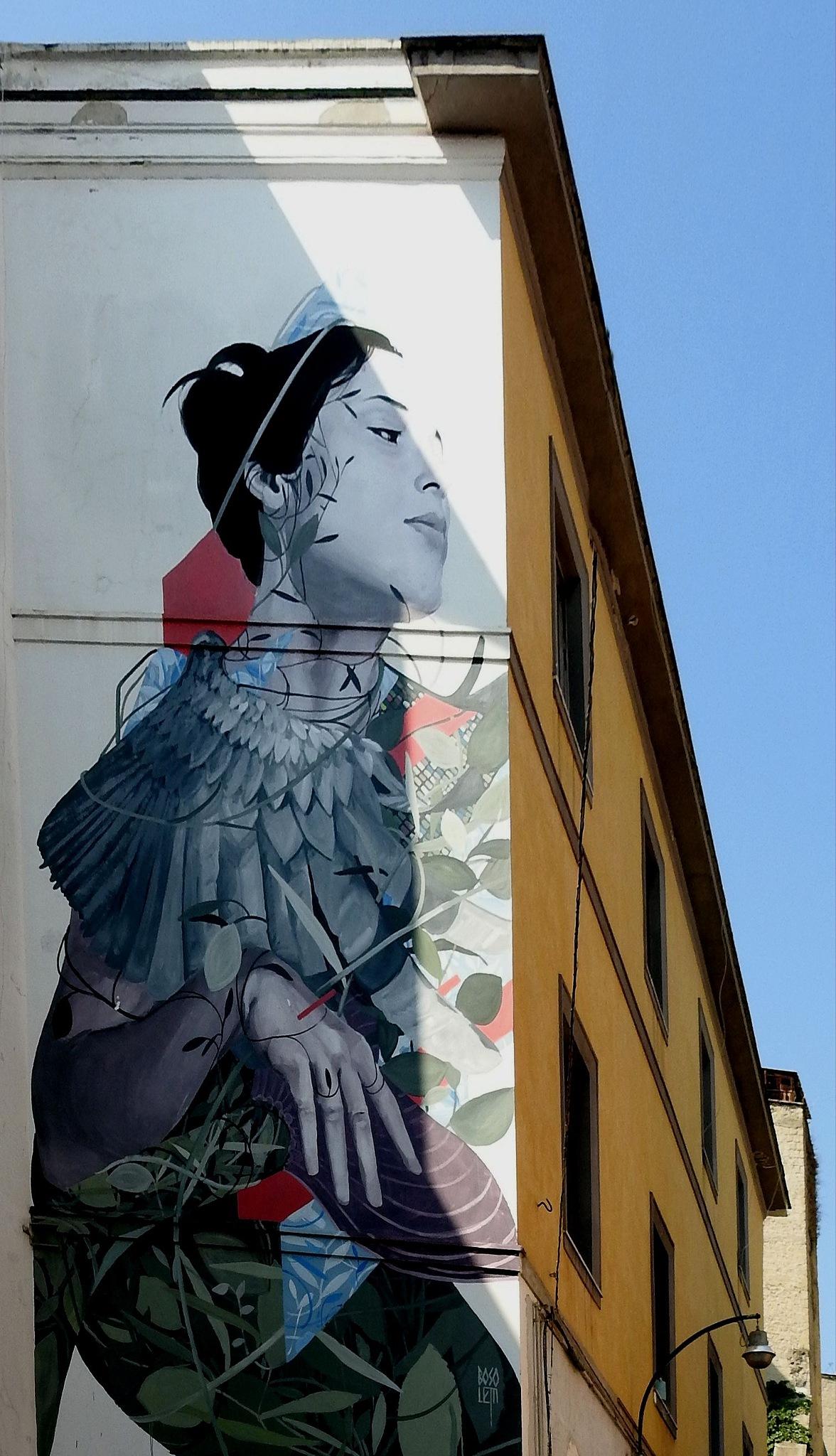 Naples Materdei - Street Art - Partenope of Francisco Bosoletti - 3 by Arnaldo De Lisio