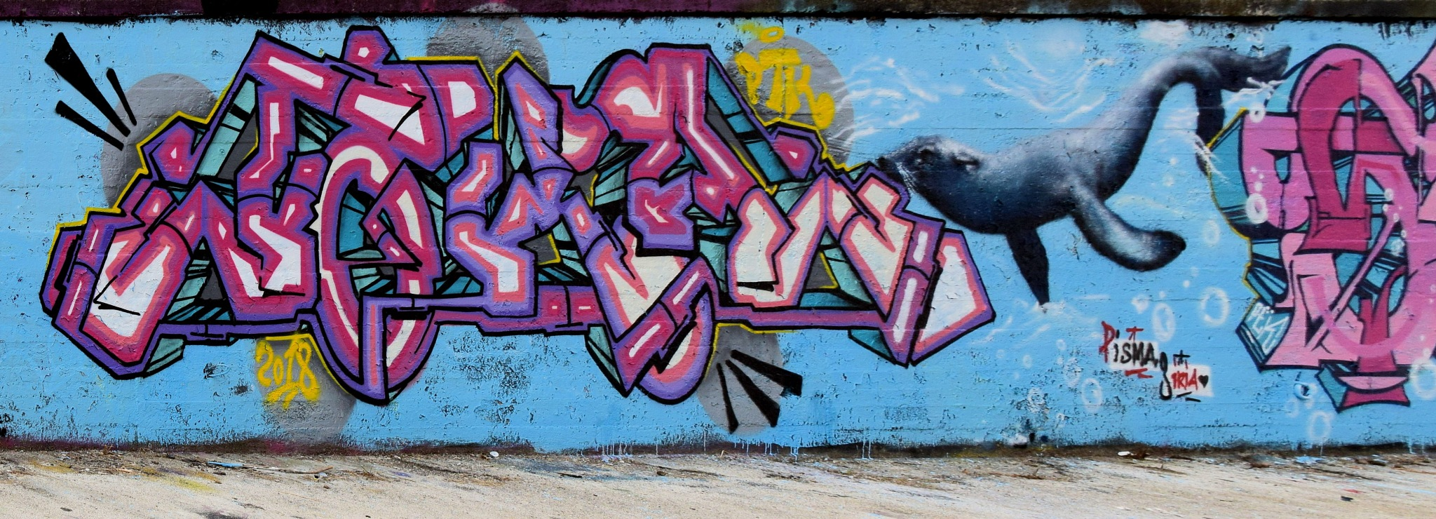 Napoli Bagnoli - Pisma & Siria - Street Art - Happy The... Seal! - Viva la... Foca! - 2 by Arnaldo De Lisio