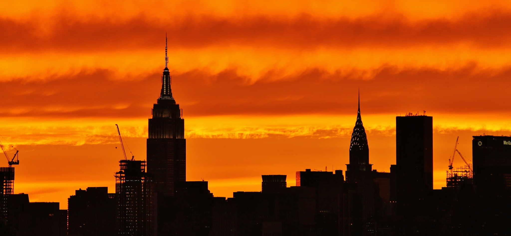 Sunset the Empire State& the Chrysler by Liborio Drogo