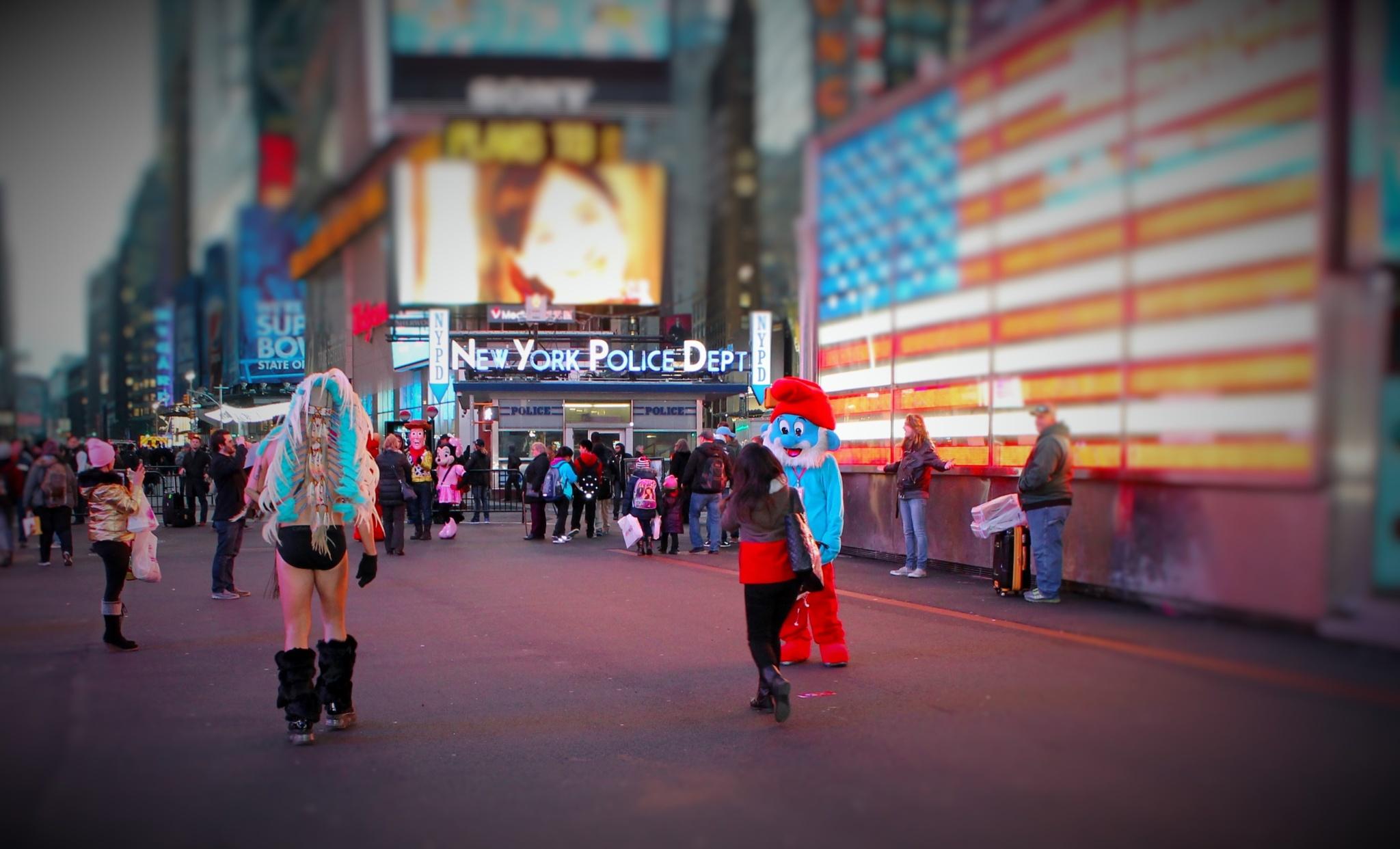 Cartoons People on Times Square, by Liborio Drogo