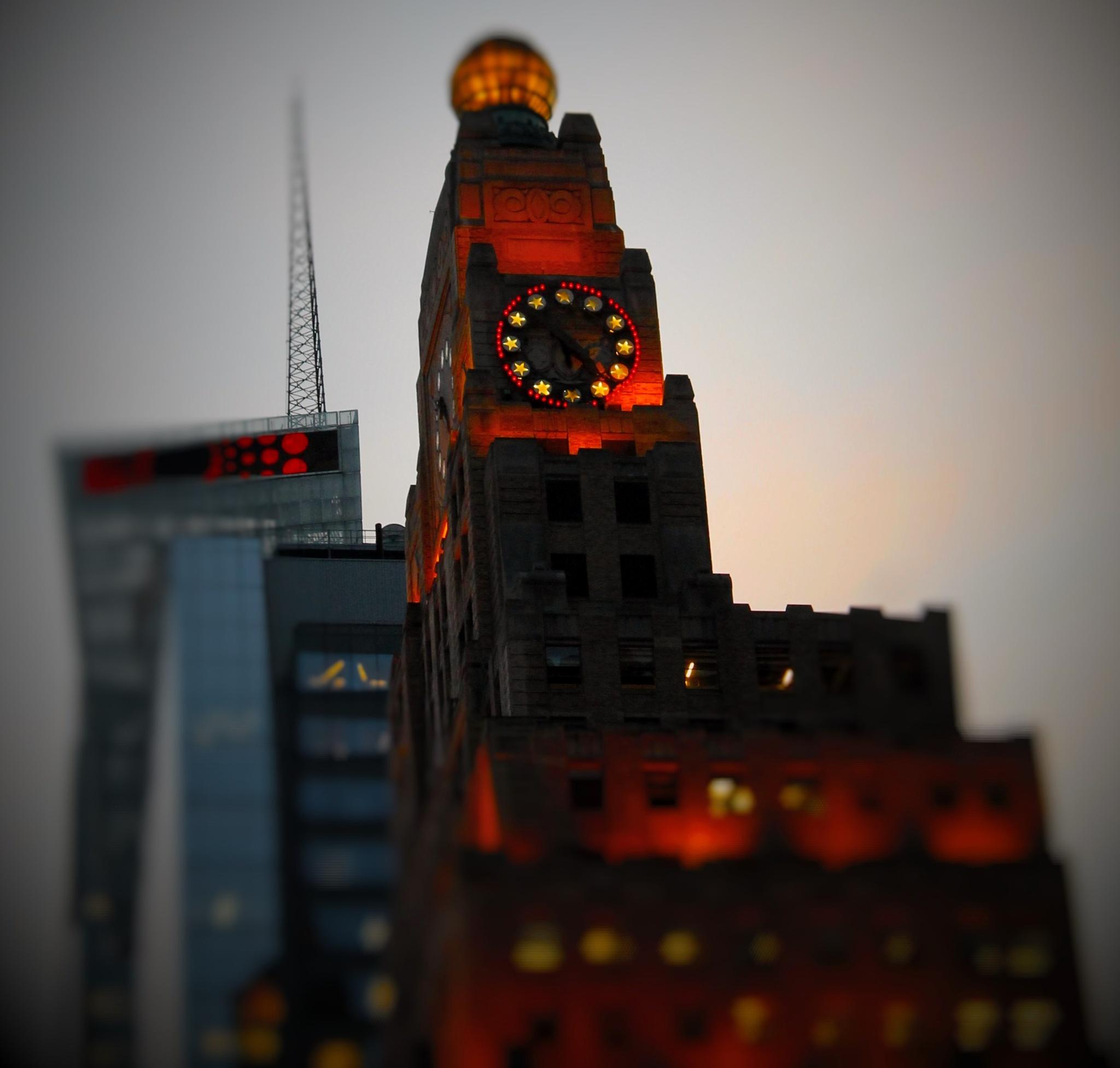 Clock on Times Square, by Liborio Drogo