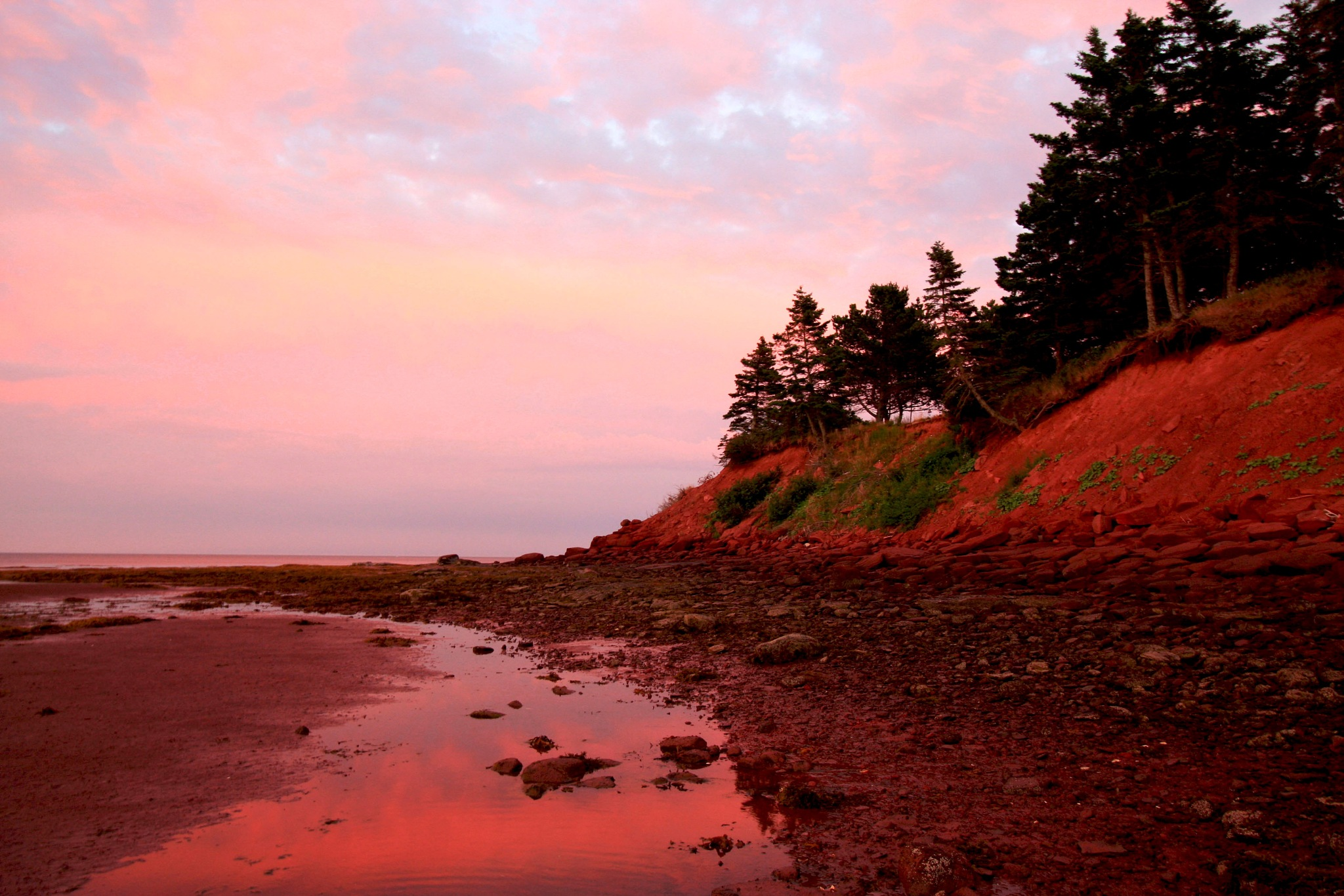 Red Sand Beach Cliffs at Sunset by Wendy Farrington