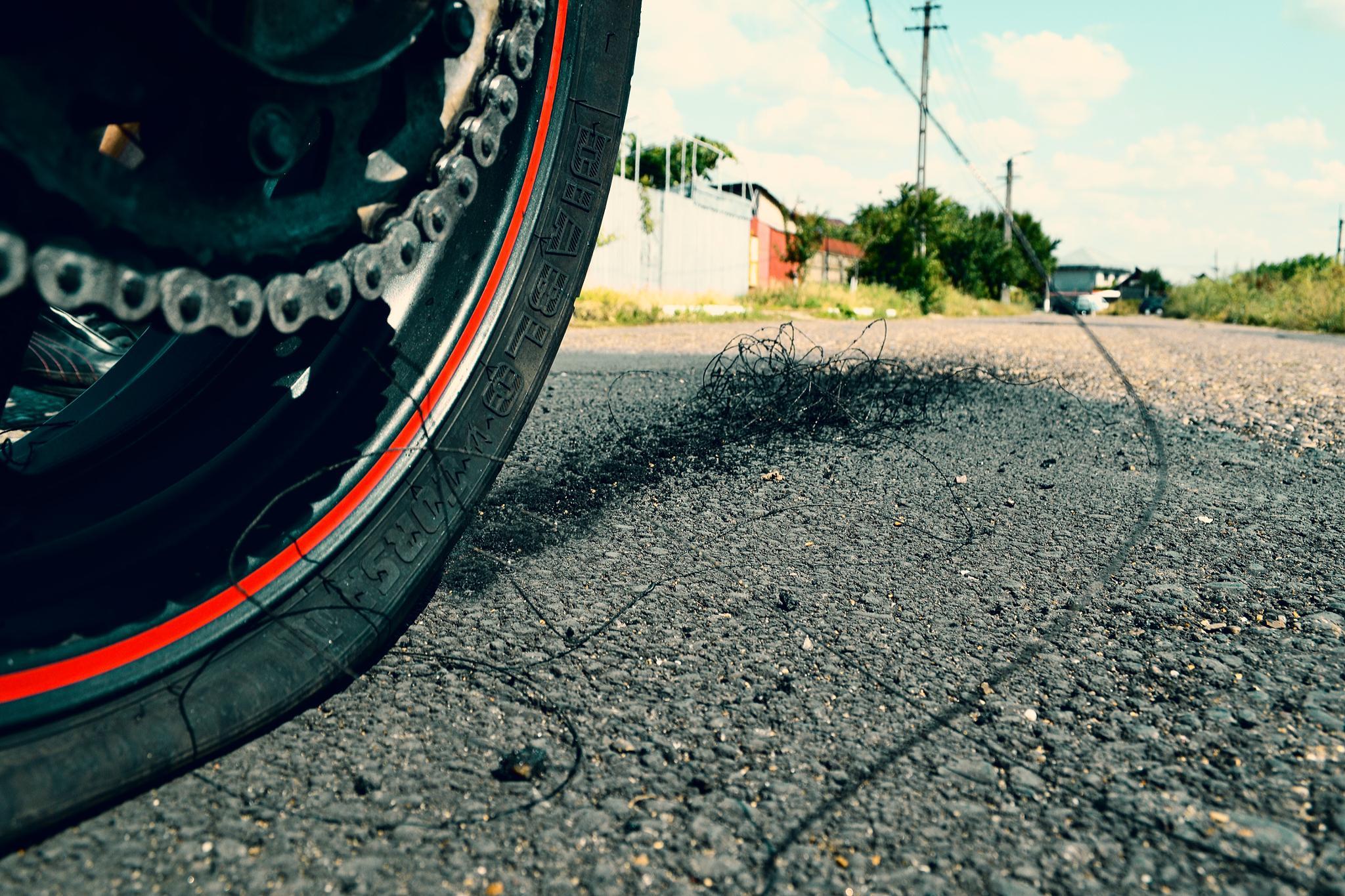 end of tire after burnout by Cernat Alexandru
