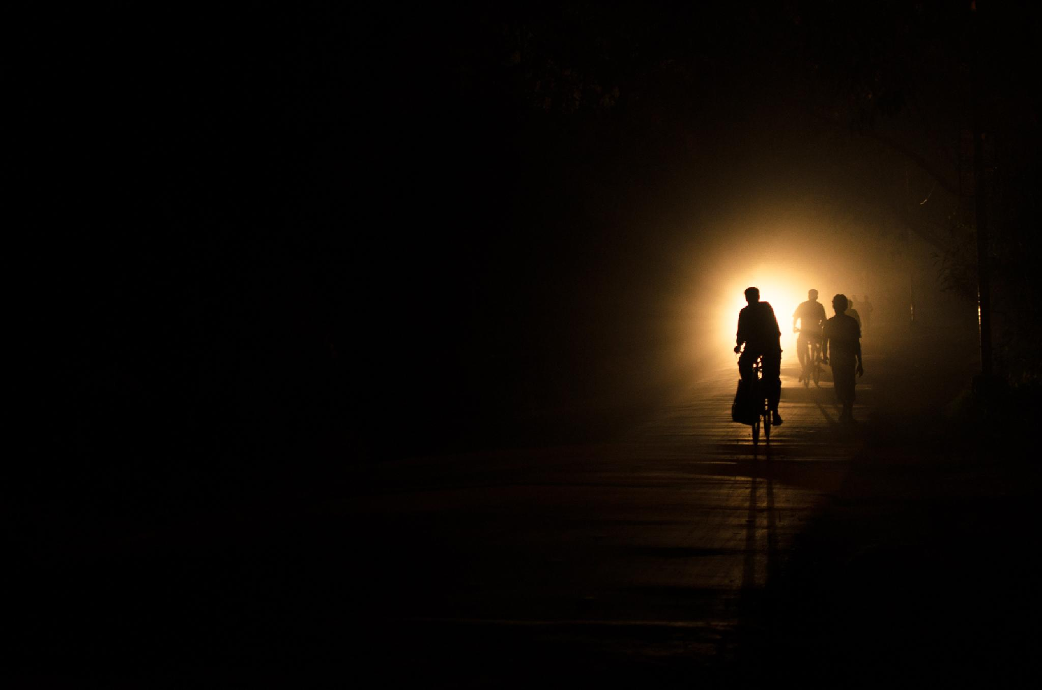 Photo in Street Photography #silhouette #glow #dark #highway #night