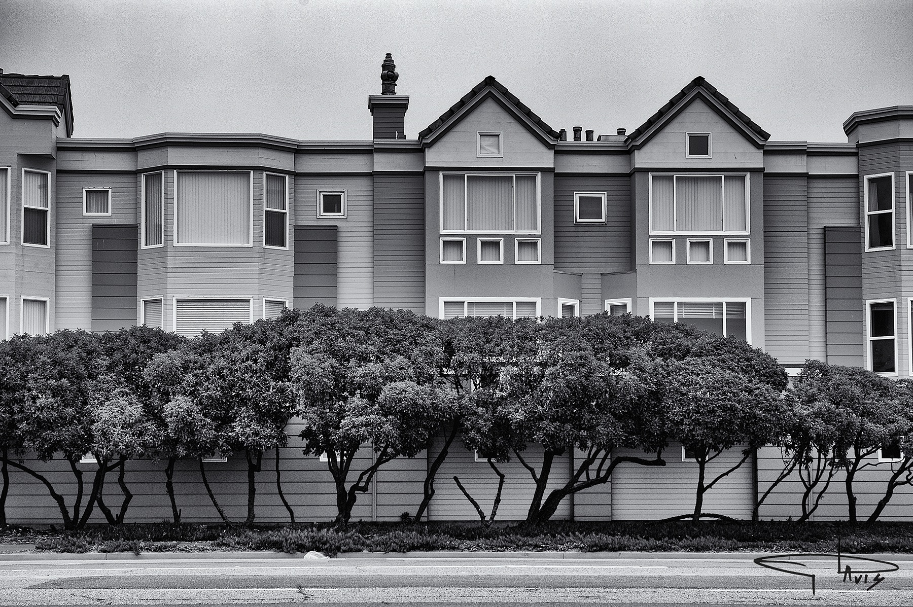 Photo in Architecture #inspiration #motivation #teachingmoment #seeingbeyondseeing #art #digitalart #photography #michaelddavis #thedailychalkboard #blackandwhite #houses #trees #juxtaposition #perfection #symmetry