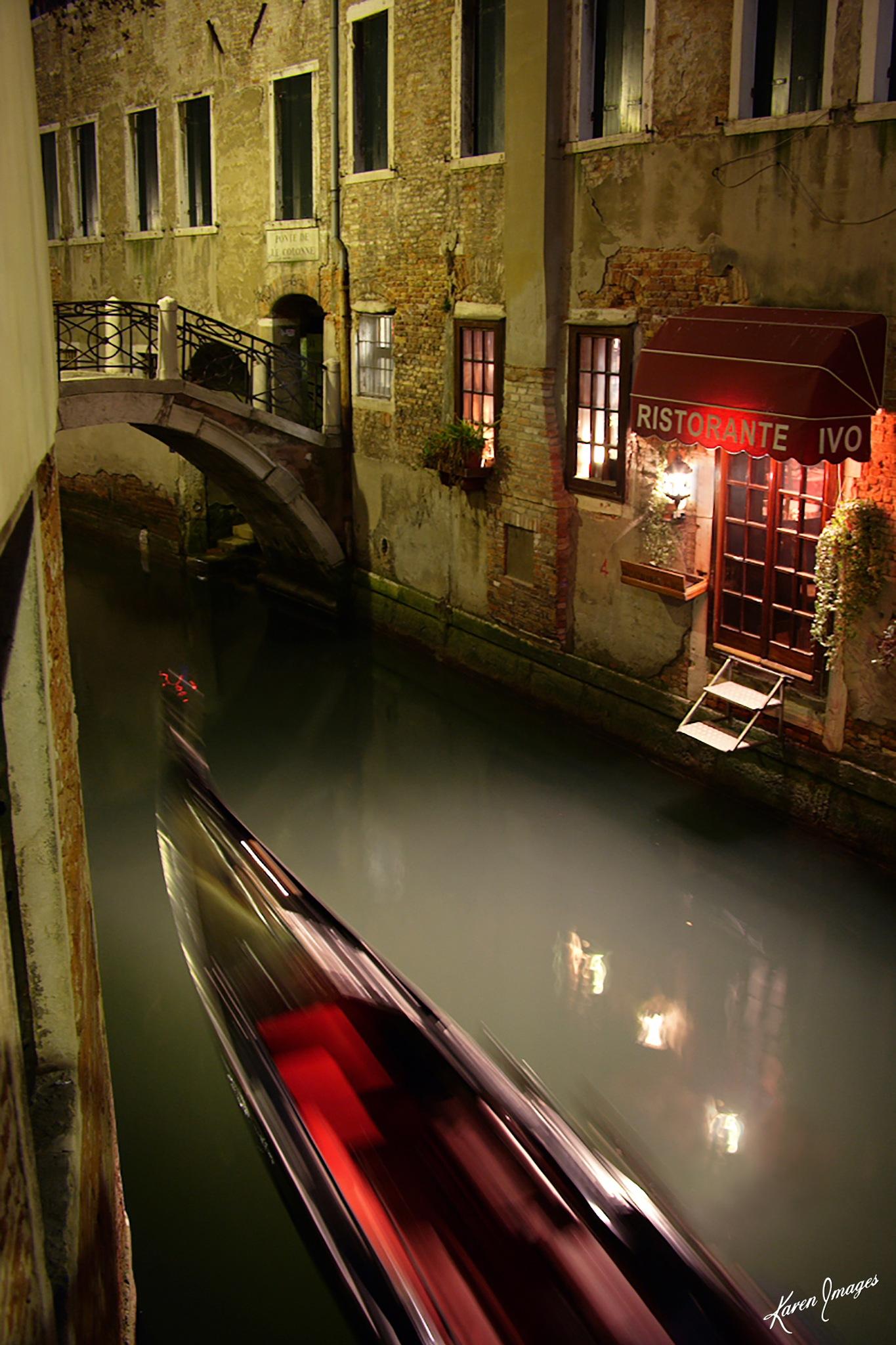 Gondola At Night by KarenImages