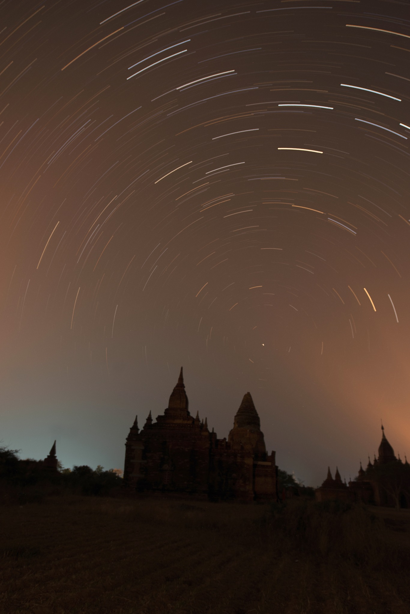 star trails over Pagan Myanmar by Mick1957